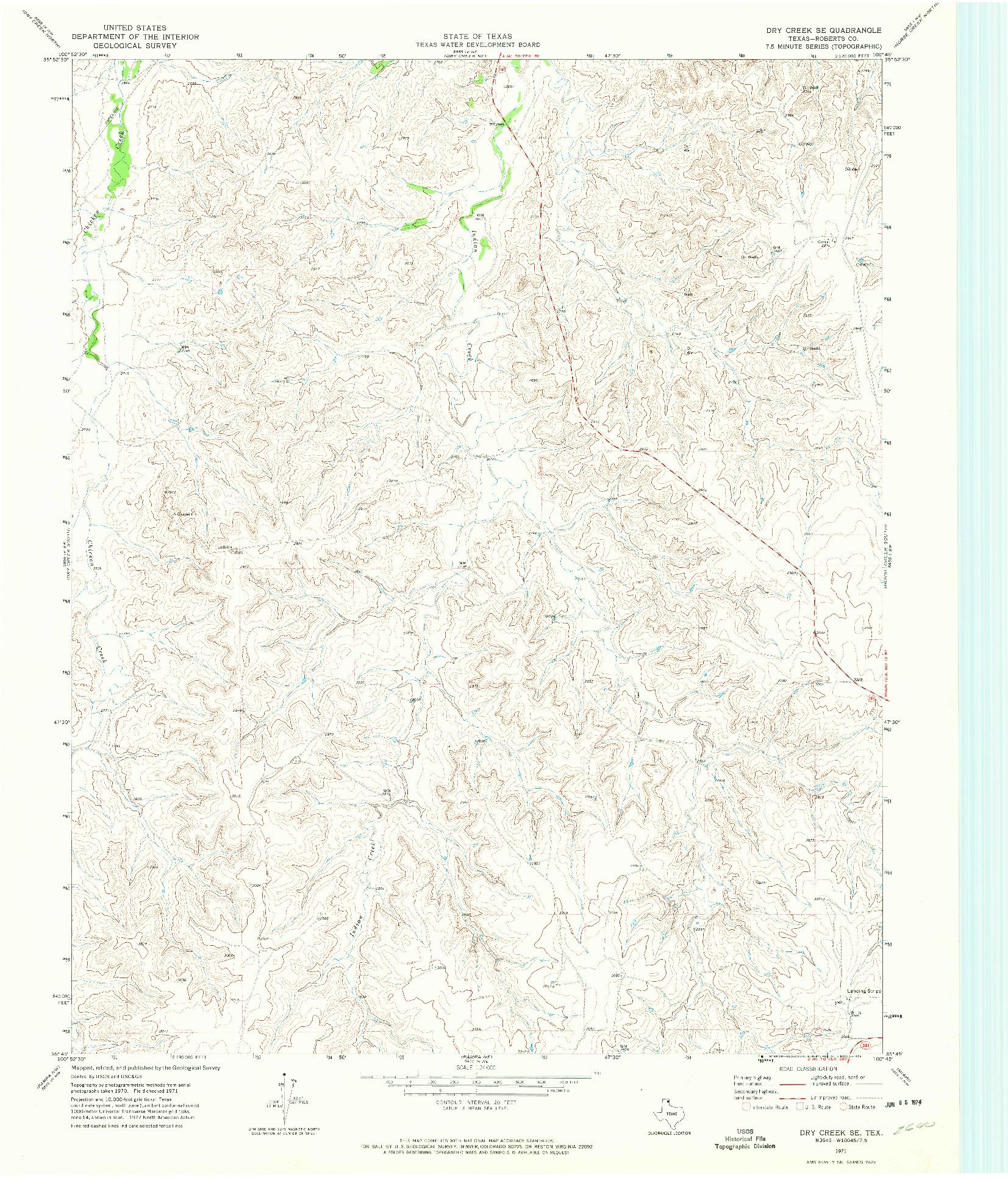 USGS 1:24000-SCALE QUADRANGLE FOR DRY CREEK SE, TX 1971