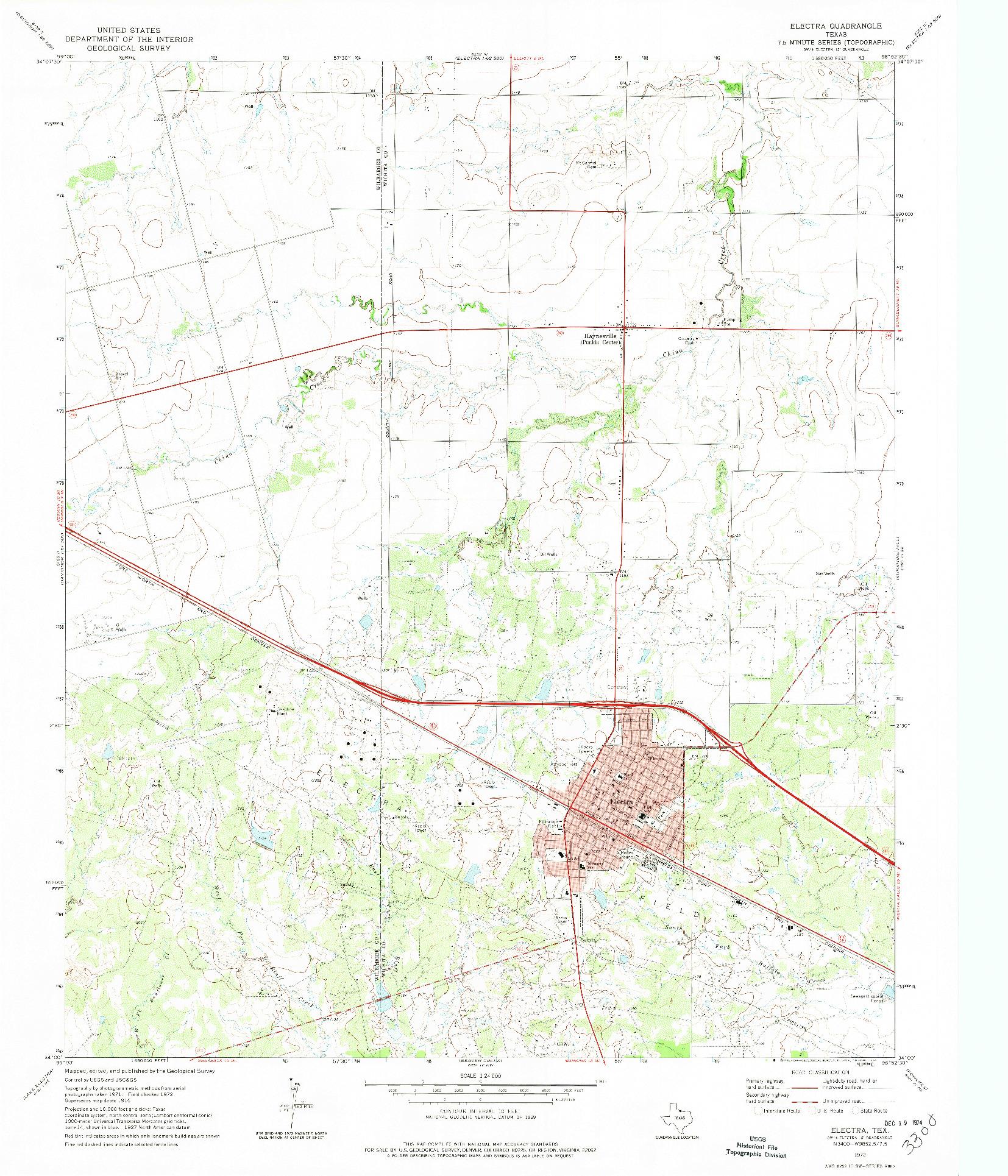 USGS 1:24000-SCALE QUADRANGLE FOR ELECTRA, TX 1972