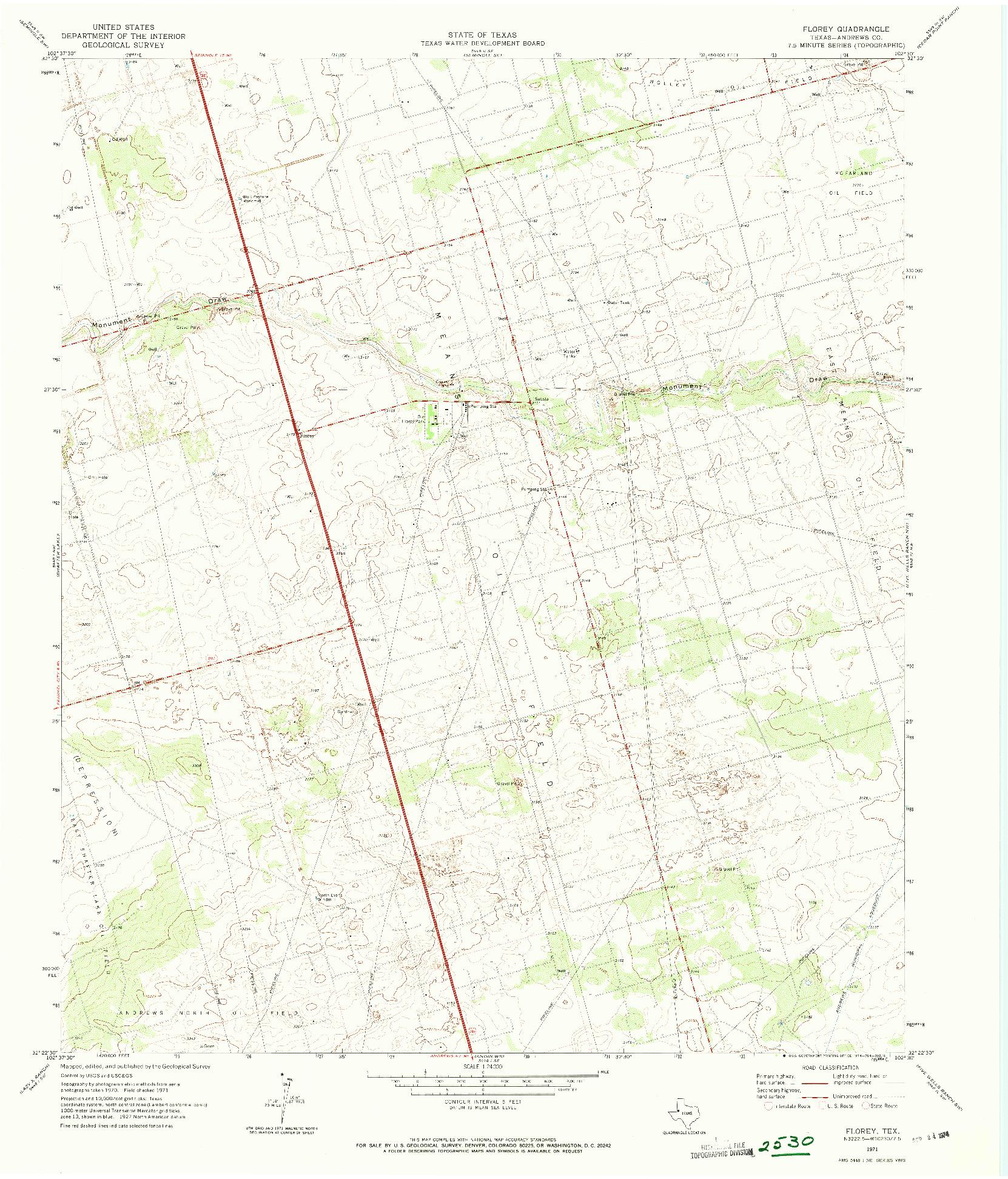 USGS 1:24000-SCALE QUADRANGLE FOR FLOREY, TX 1971
