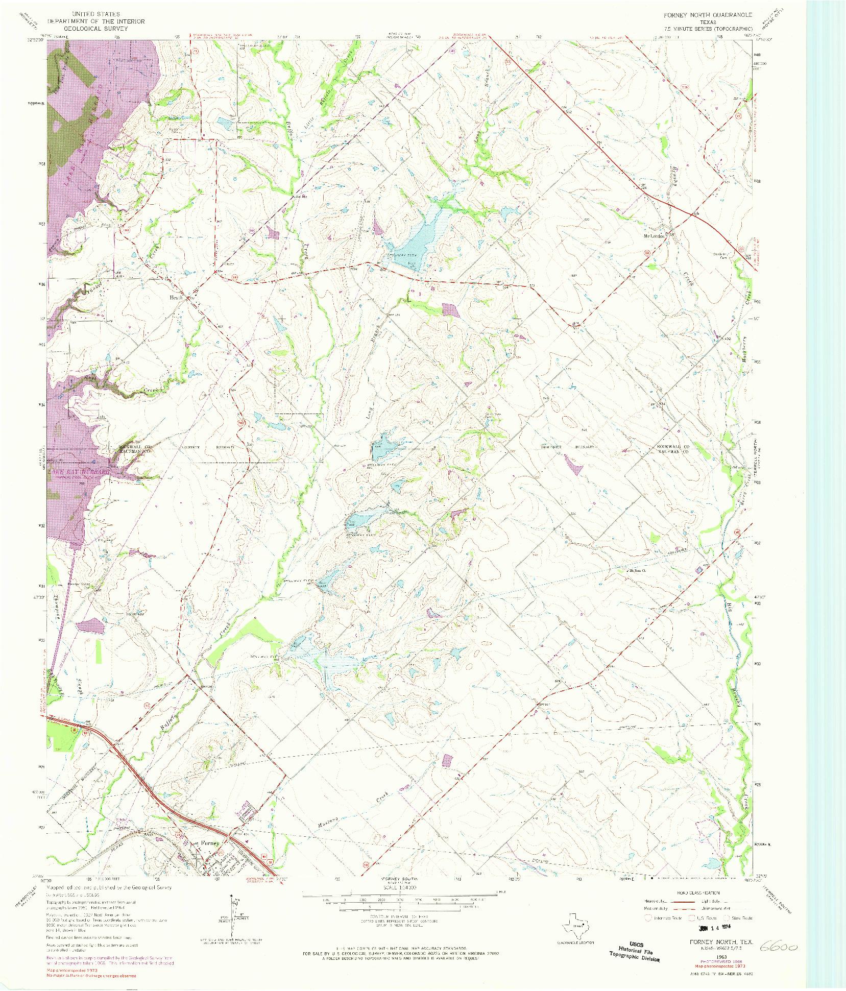 USGS 1:24000-SCALE QUADRANGLE FOR FORNEY NORTH, TX 1963