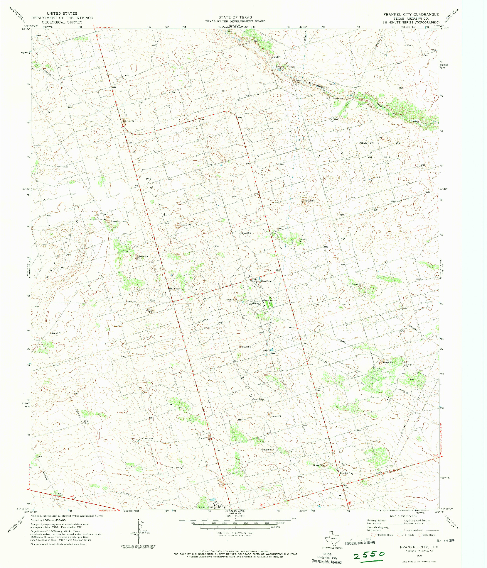 USGS 1:24000-SCALE QUADRANGLE FOR FRANKEL CITY, TX 1971
