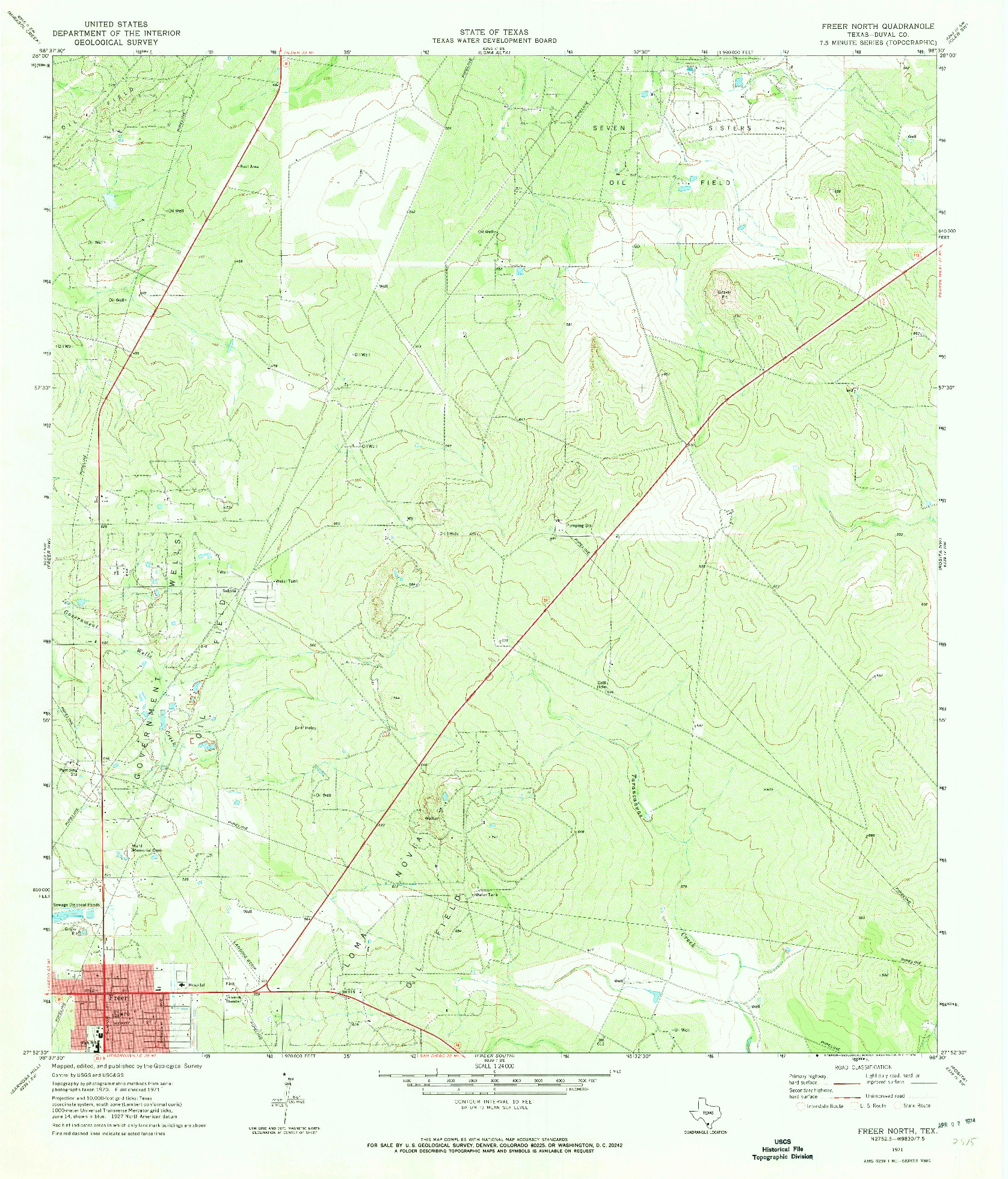 USGS 1:24000-SCALE QUADRANGLE FOR FREER NORTH, TX 1971