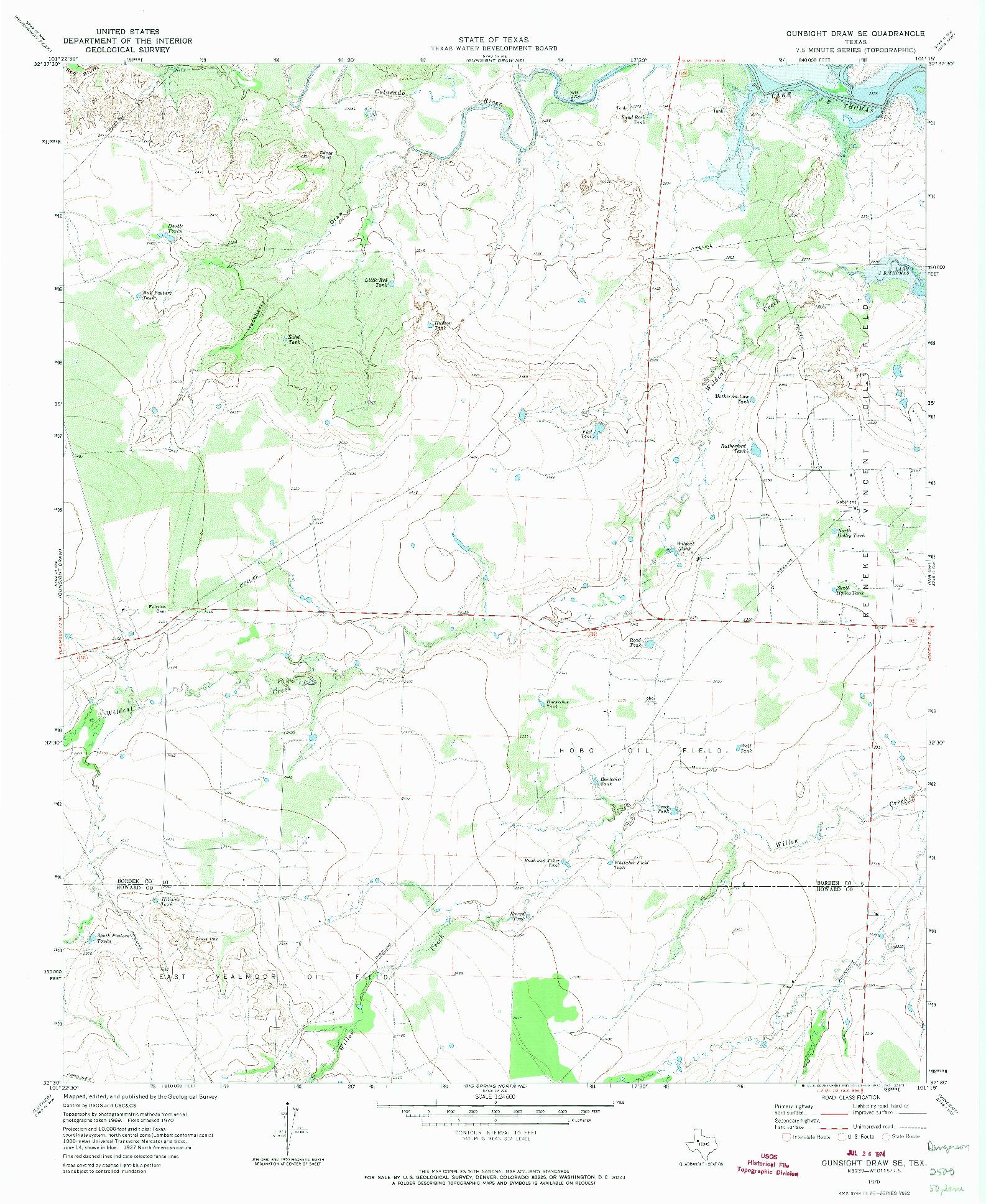 USGS 1:24000-SCALE QUADRANGLE FOR GUNSIGHT DRAW SE, TX 1970