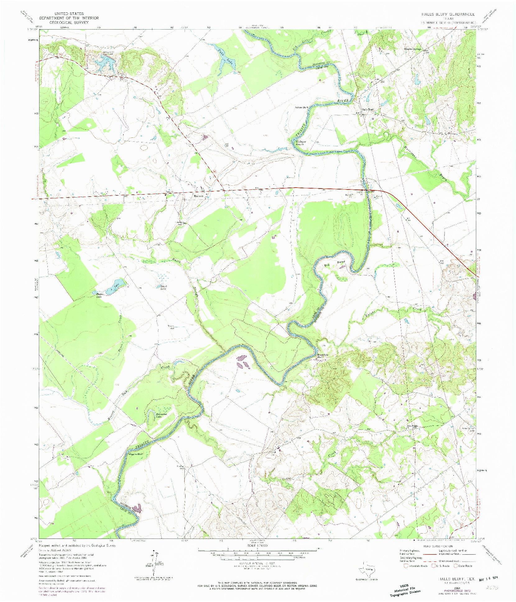 USGS 1:24000-SCALE QUADRANGLE FOR HALLS BLUFF, TX 1964