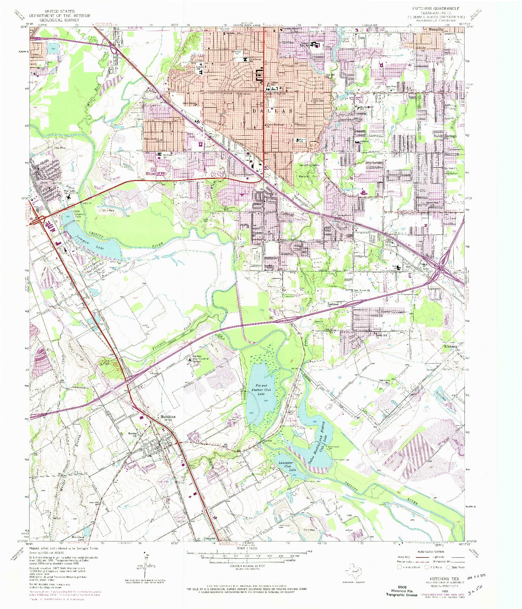 USGS 1:24000-SCALE QUADRANGLE FOR HUTCHINS, TX 1958