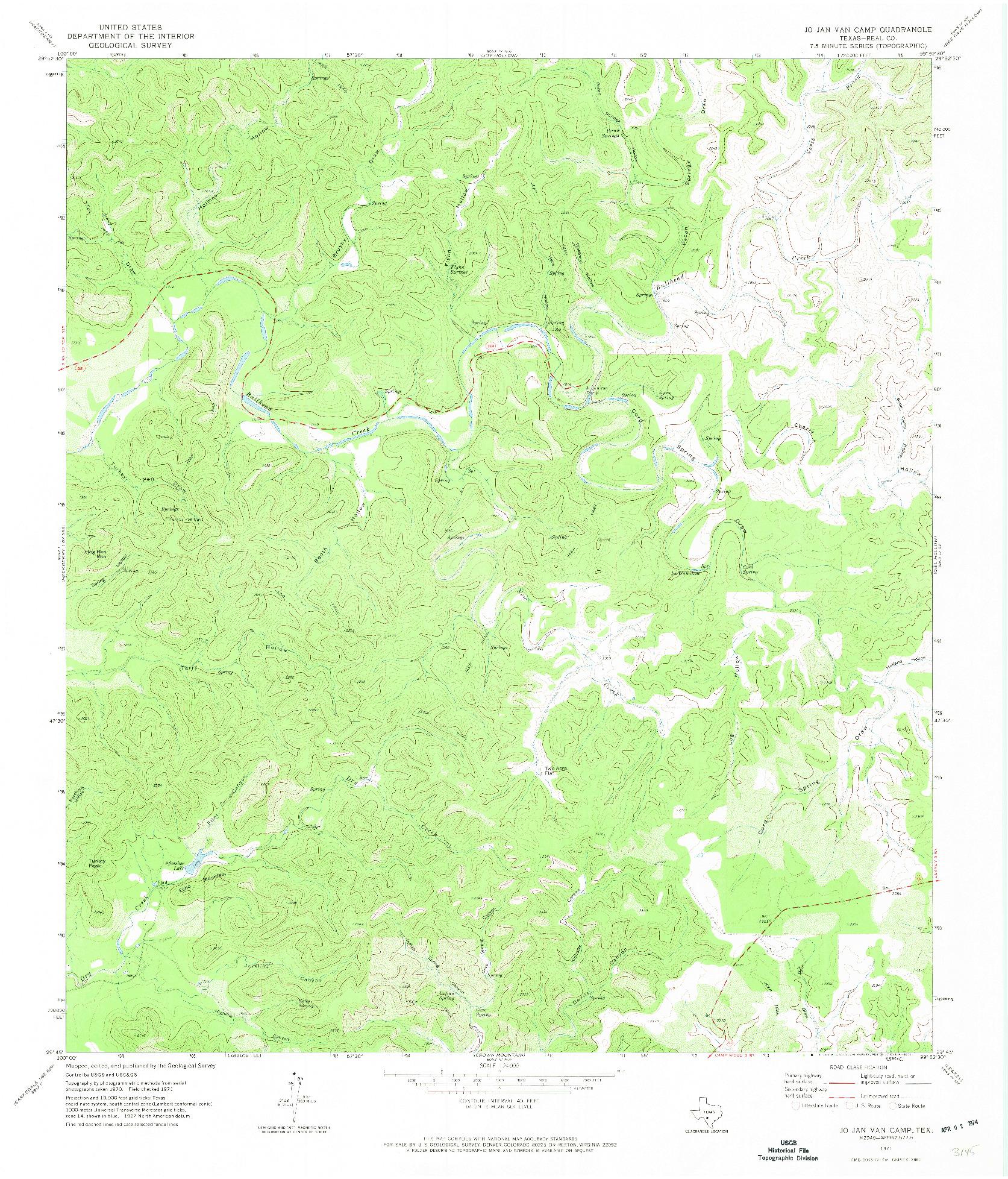 USGS 1:24000-SCALE QUADRANGLE FOR JO JAN VAN CAMP, TX 1971