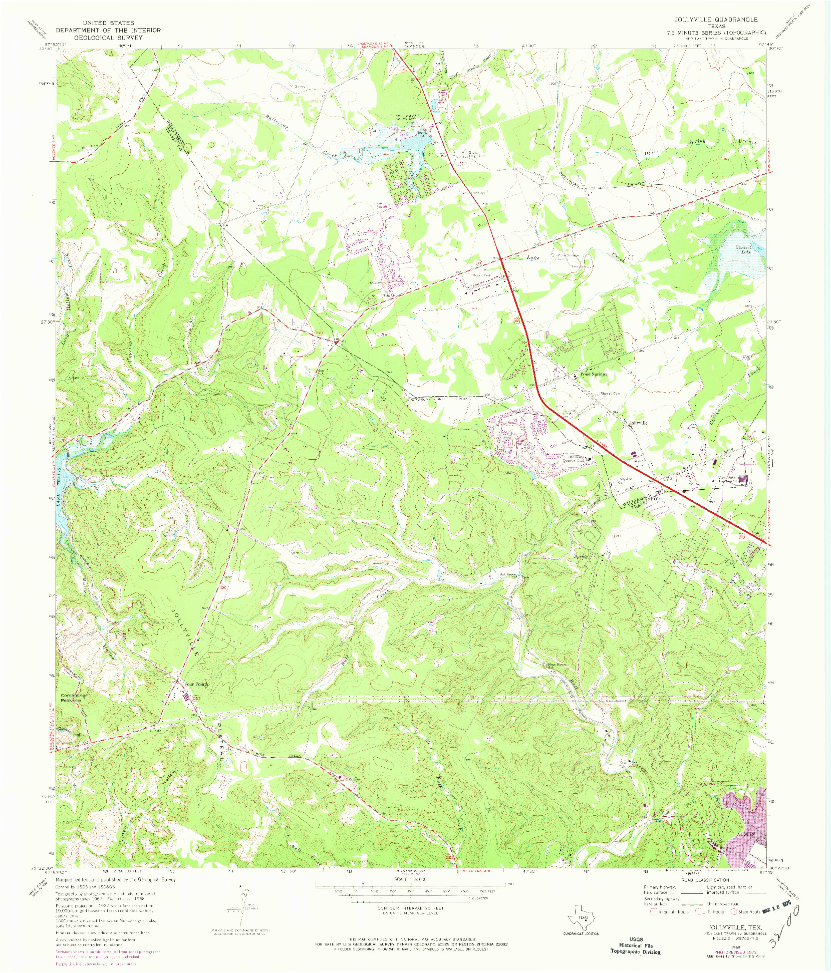 USGS 1:24000-SCALE QUADRANGLE FOR JOLLYVILLE, TX 1968