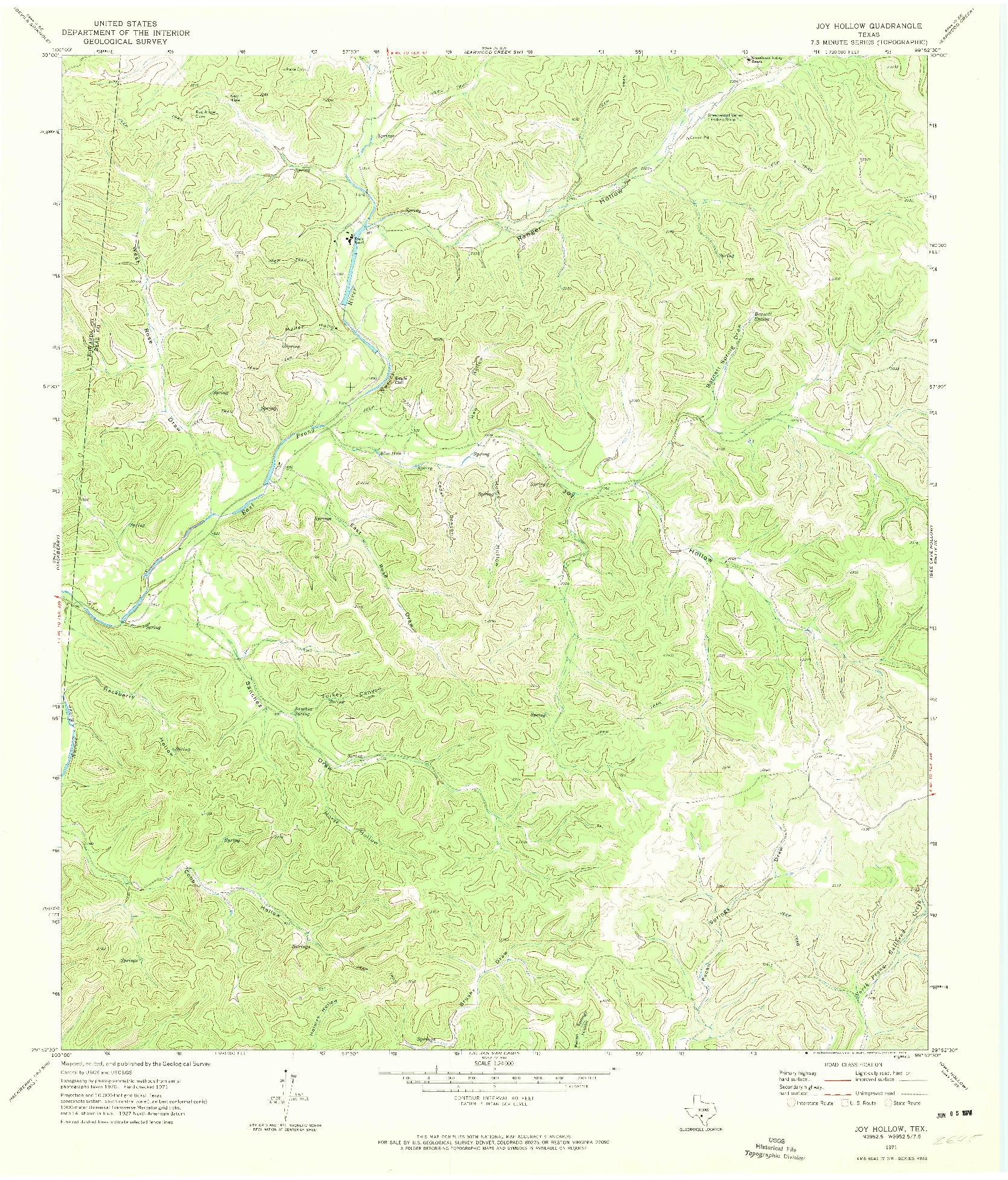 USGS 1:24000-SCALE QUADRANGLE FOR JOY HOLLOW, TX 1971