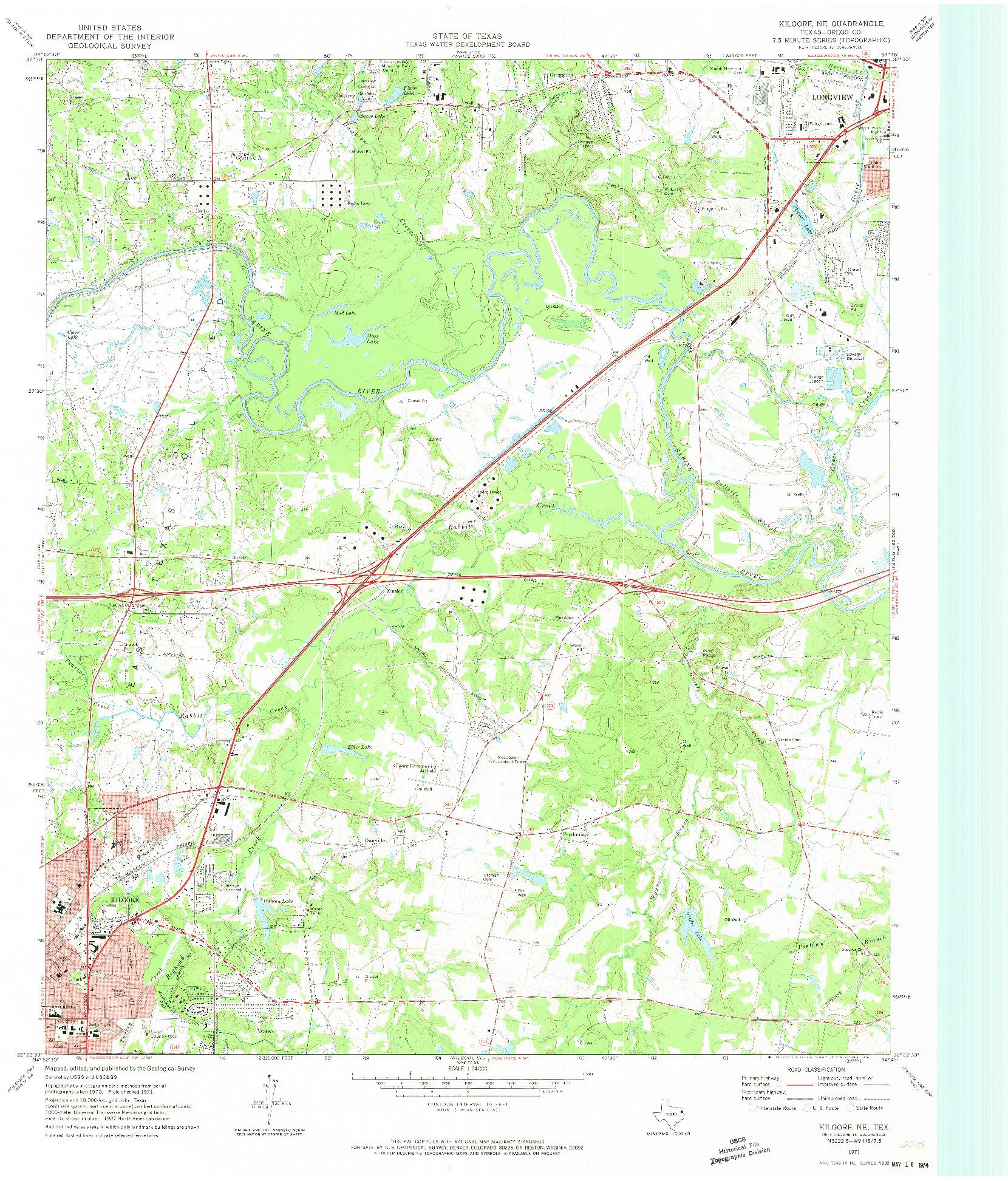 USGS 1:24000-SCALE QUADRANGLE FOR KILGORE NE, TX 1971