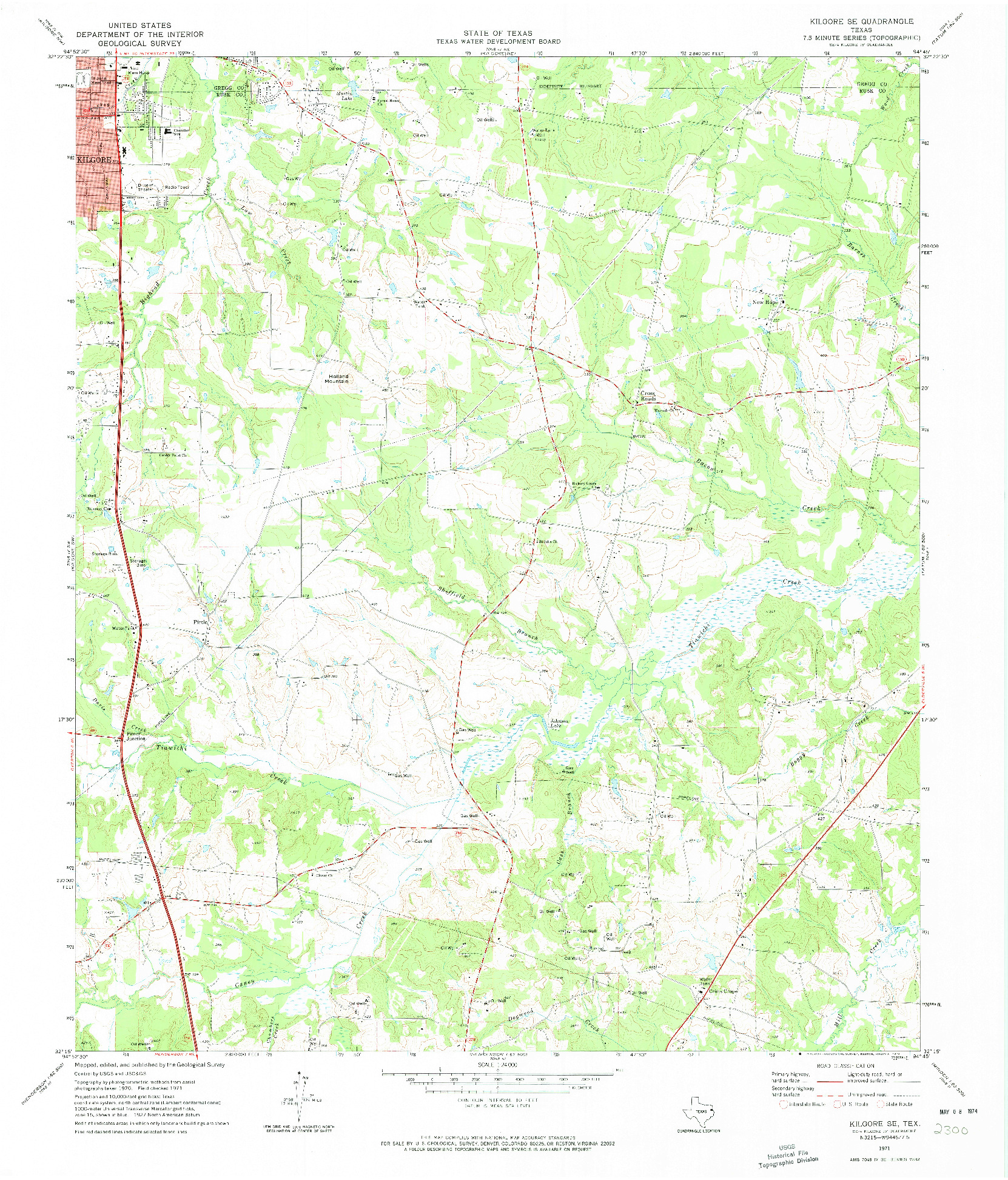 USGS 1:24000-SCALE QUADRANGLE FOR KILGORE SE, TX 1971