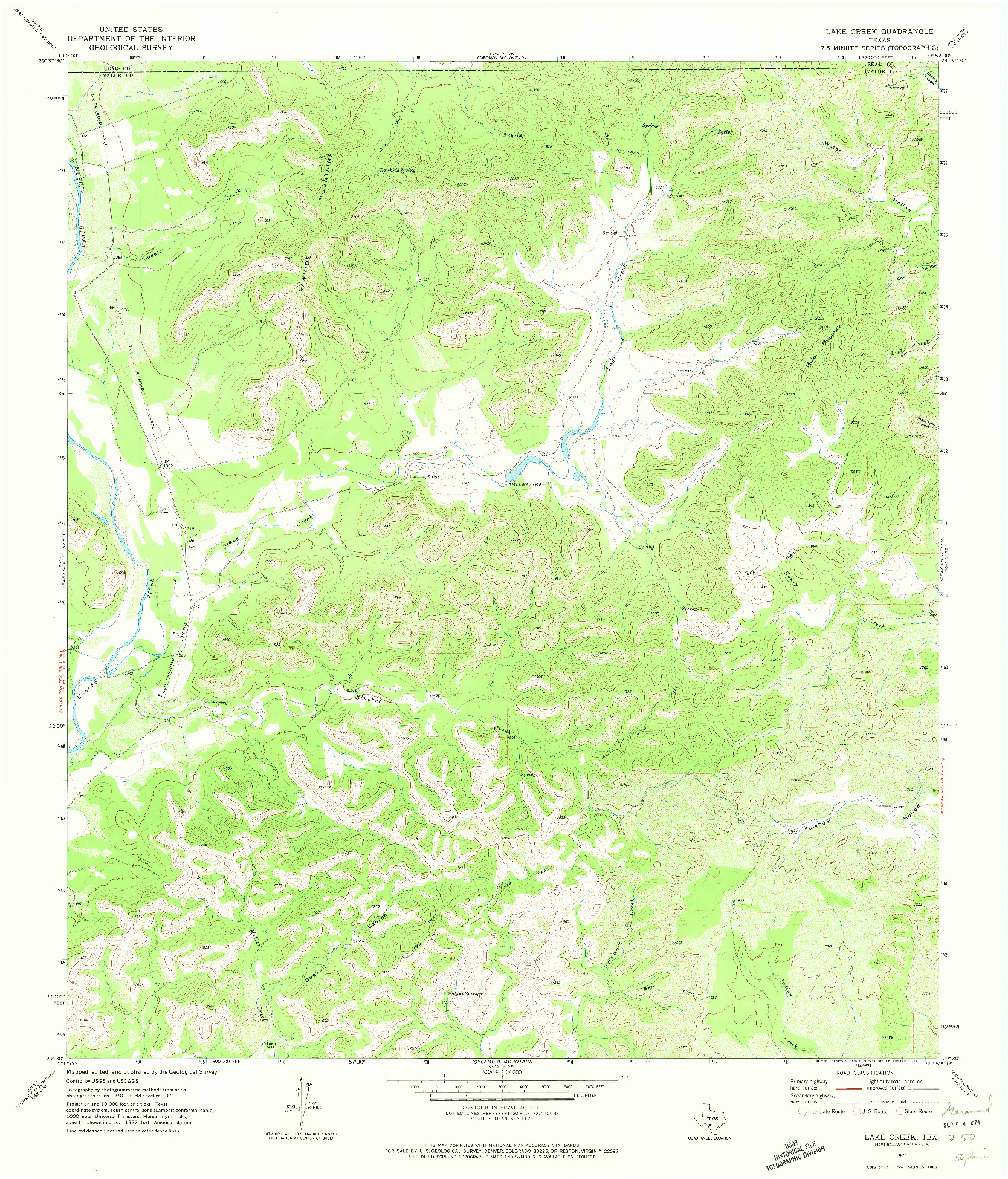 USGS 1:24000-SCALE QUADRANGLE FOR LAKE CREEK, TX 1971