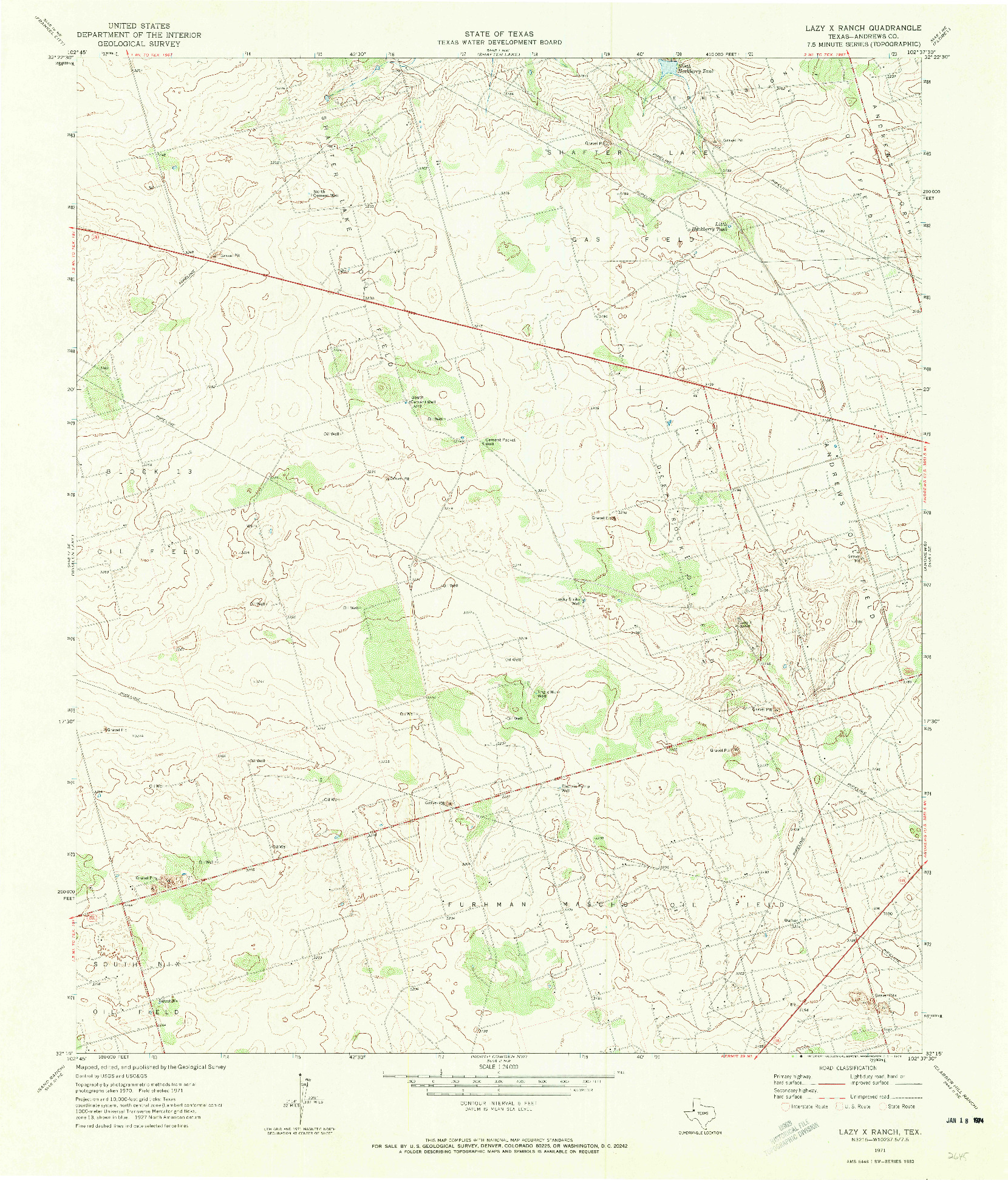 USGS 1:24000-SCALE QUADRANGLE FOR LAZY X RANCH, TX 1971