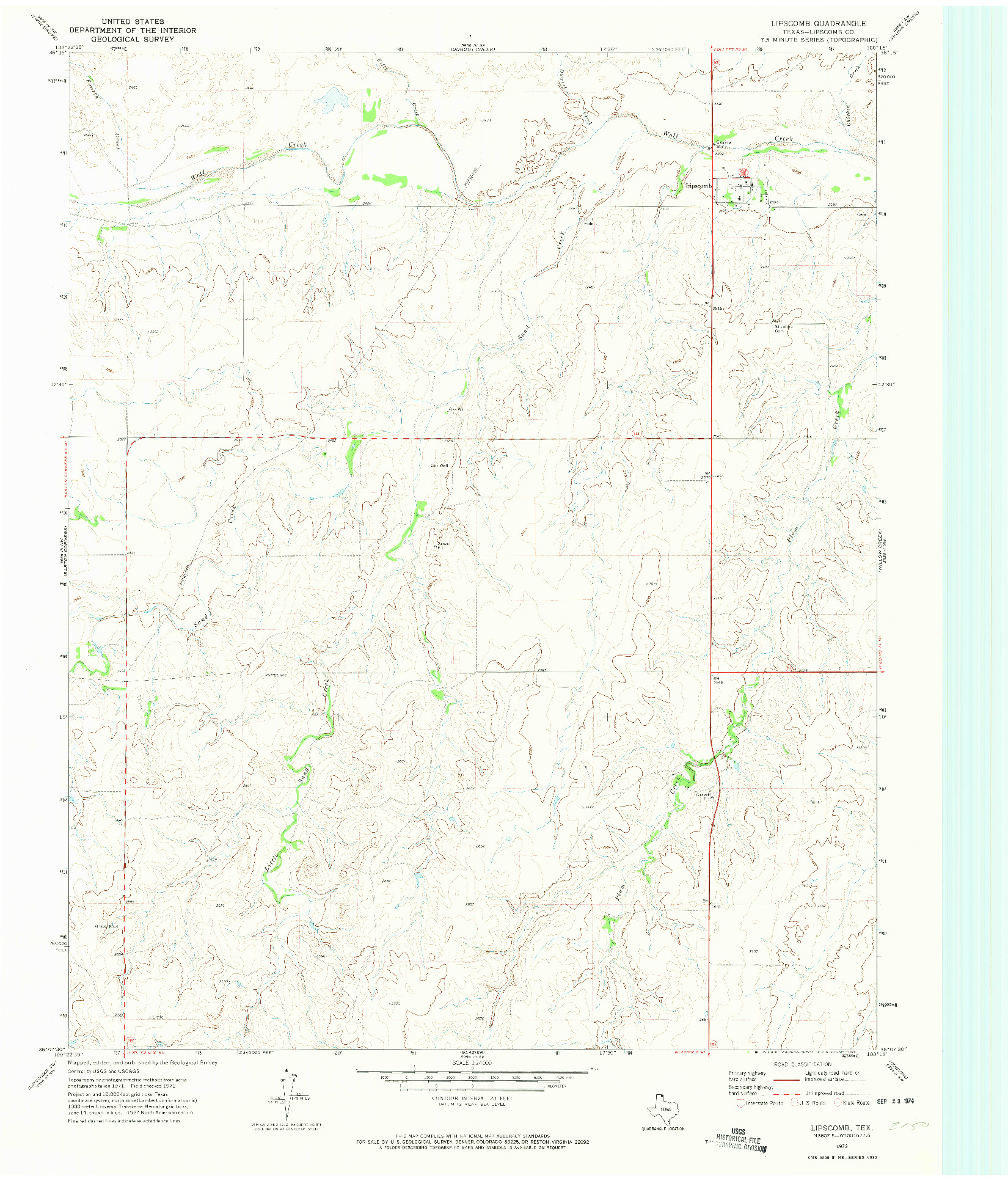 USGS 1:24000-SCALE QUADRANGLE FOR LIPSCOMB, TX 1972