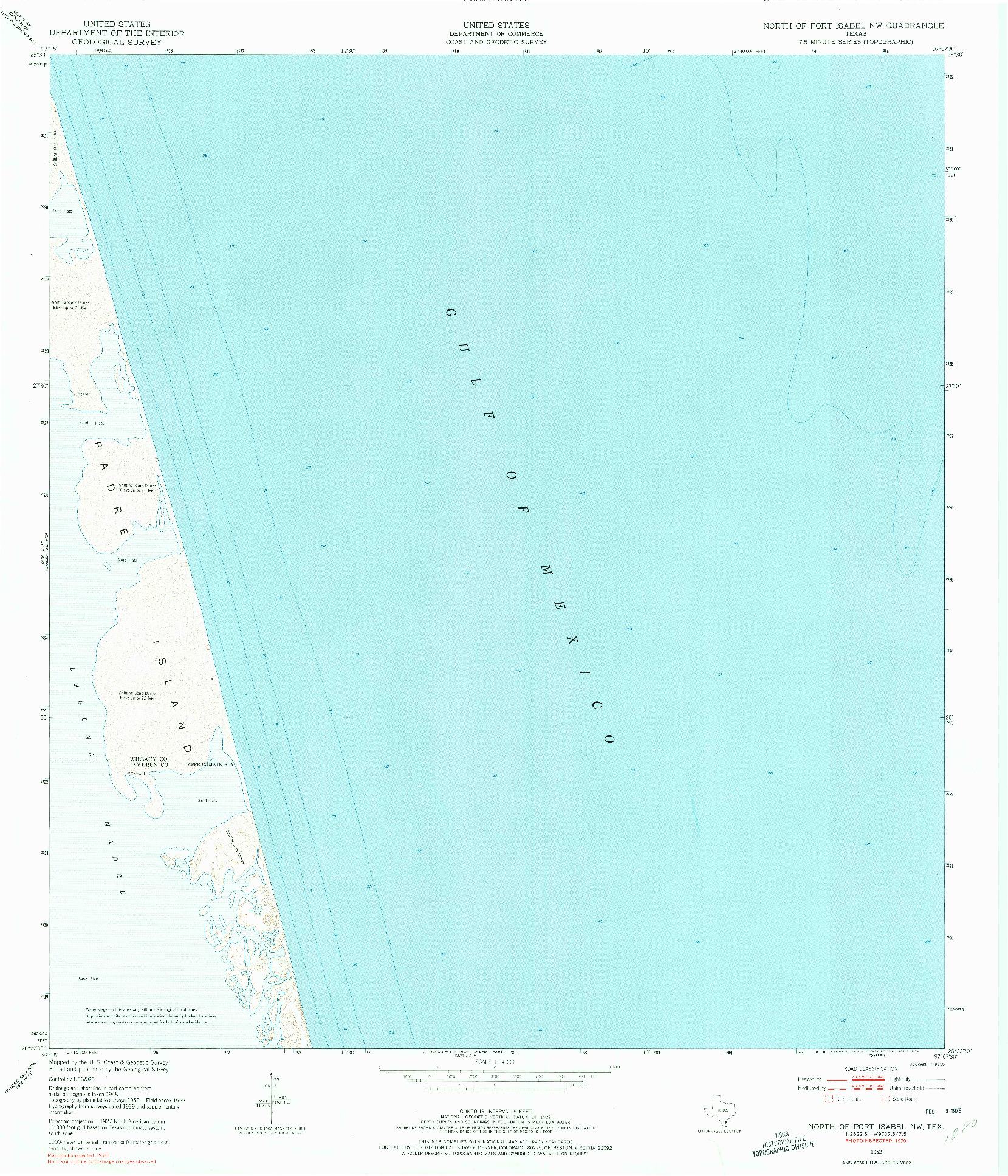 USGS 1:24000-SCALE QUADRANGLE FOR NORTH OF PORT ISABEL NW, TX 1952
