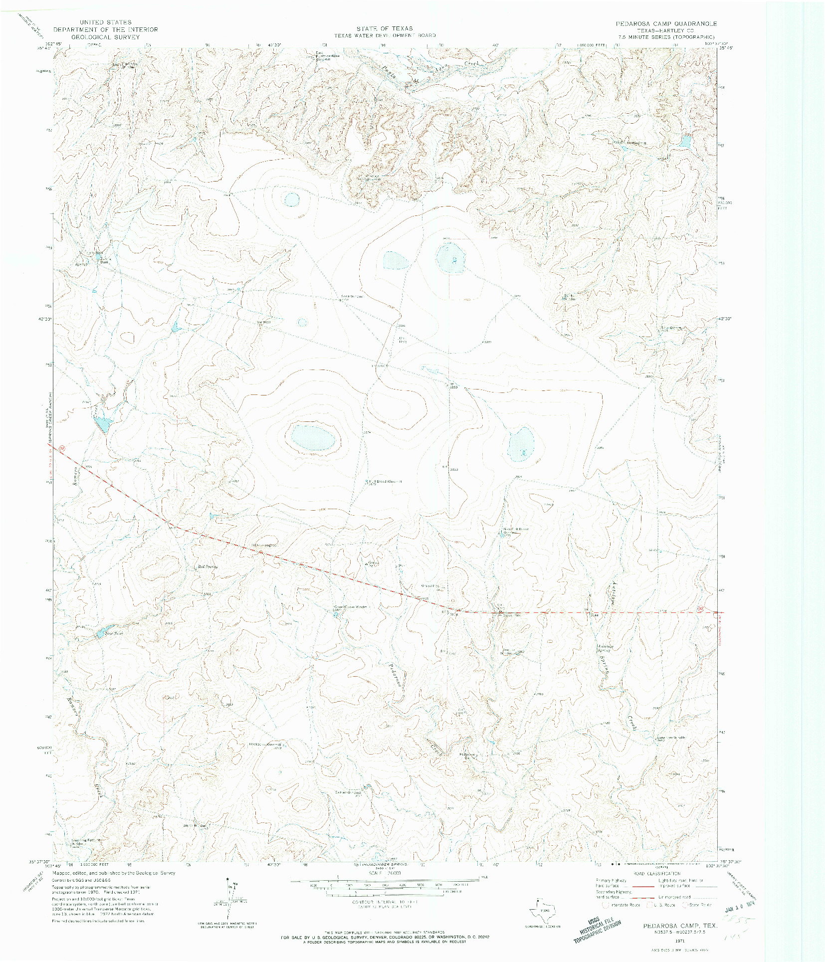 USGS 1:24000-SCALE QUADRANGLE FOR PEDAROSA CAMP, TX 1971