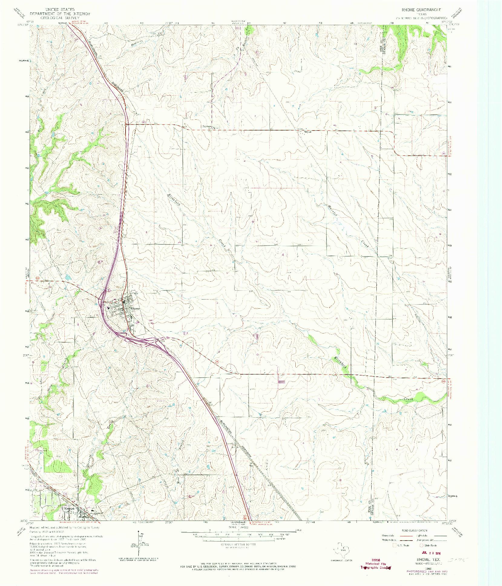 USGS 1:24000-SCALE QUADRANGLE FOR RHOME, TX 1960