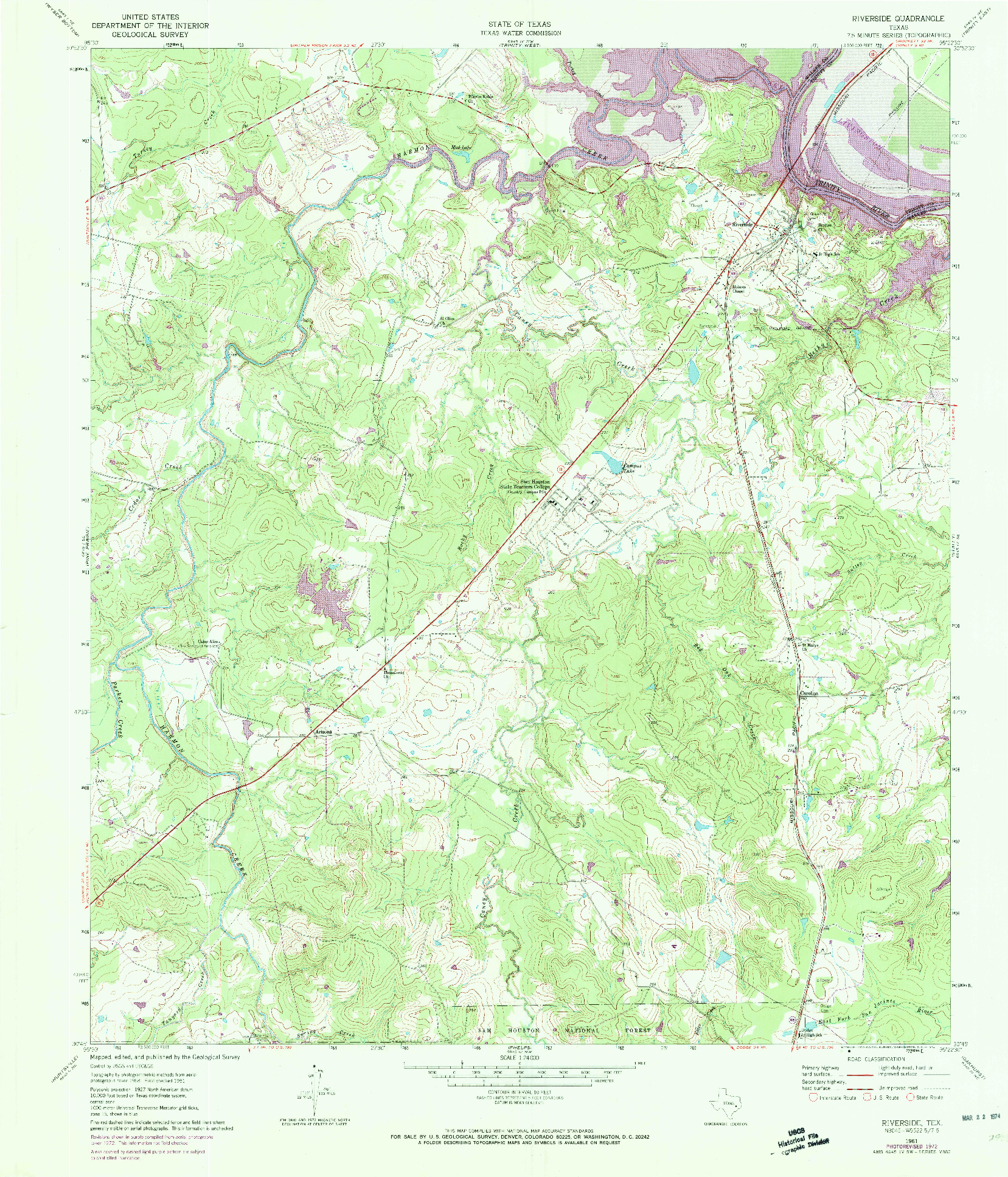 USGS 1:24000-SCALE QUADRANGLE FOR RIVERSIDE, TX 1961