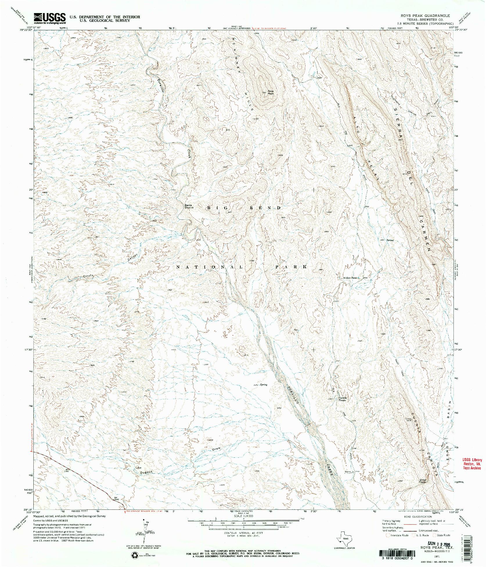 USGS 1:24000-SCALE QUADRANGLE FOR ROYS PEAK, TX 1971