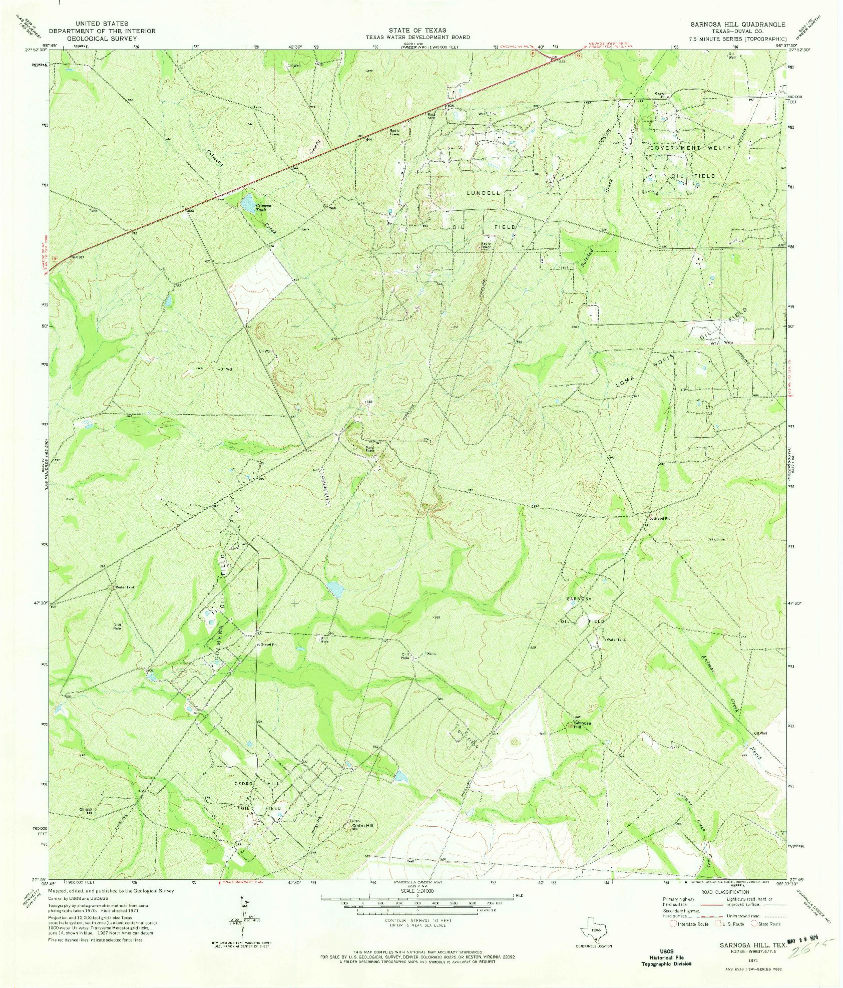 USGS 1:24000-SCALE QUADRANGLE FOR SARNOSA HILL, TX 1971