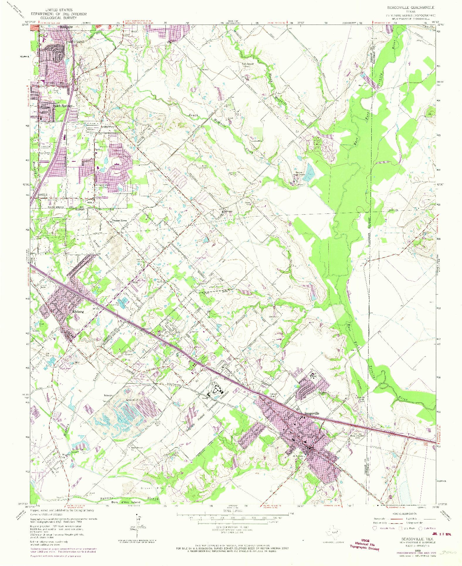 USGS 1:24000-SCALE QUADRANGLE FOR SEAGOVILLE, TX 1959
