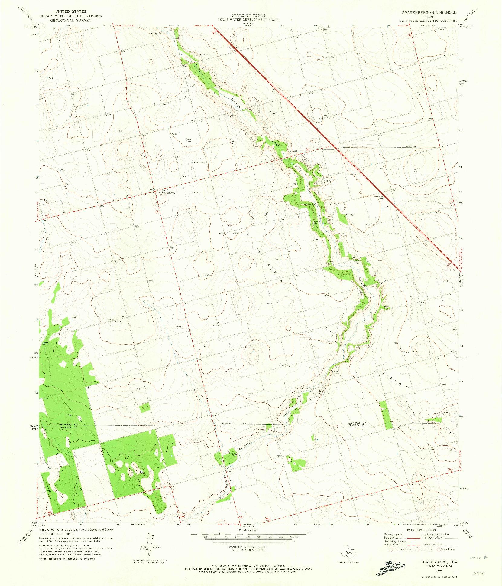 USGS 1:24000-SCALE QUADRANGLE FOR SPARENBERG, TX 1970