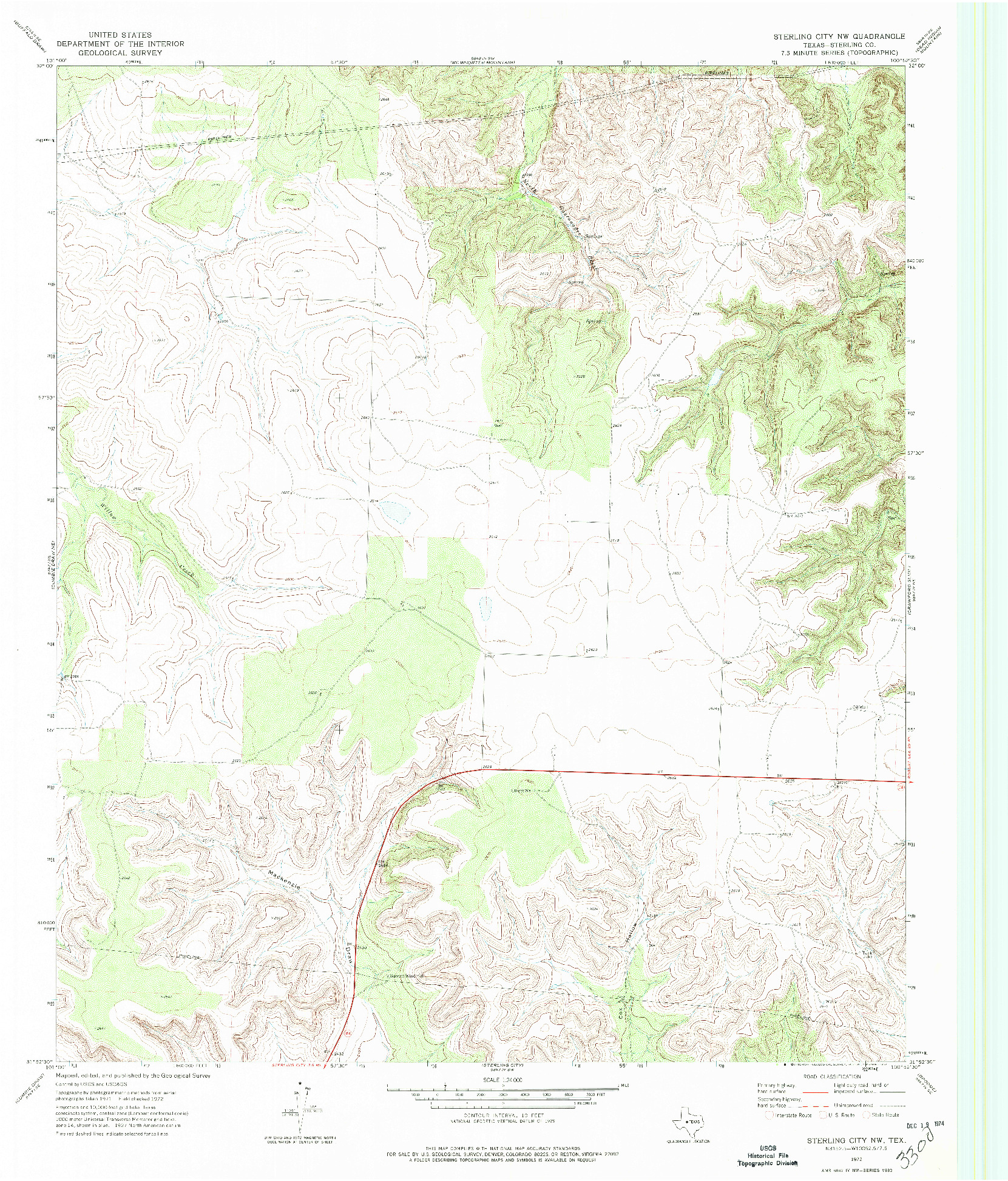 USGS 1:24000-SCALE QUADRANGLE FOR STERLING CITY NW, TX 1972