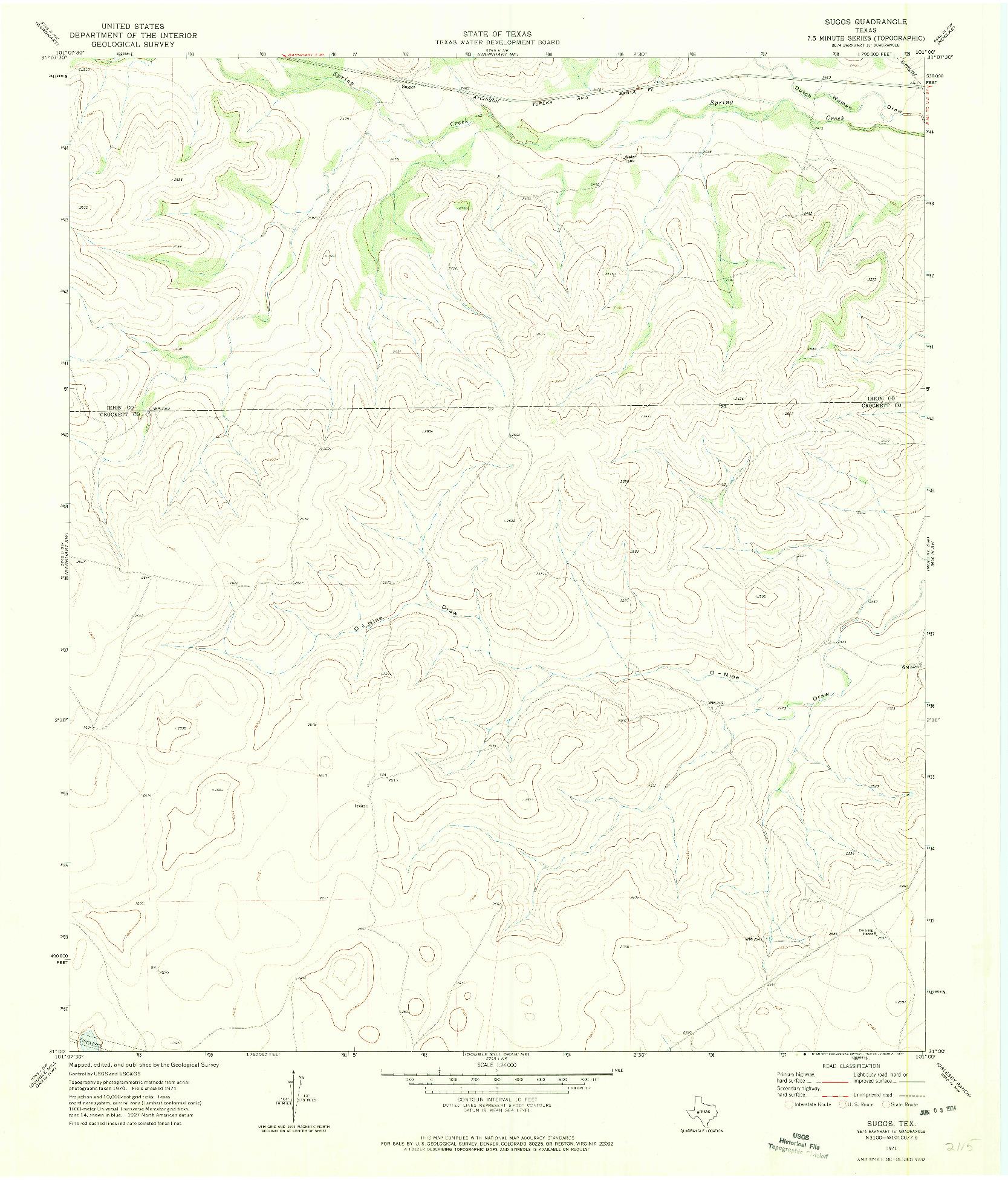USGS 1:24000-SCALE QUADRANGLE FOR SUGGS, TX 1971