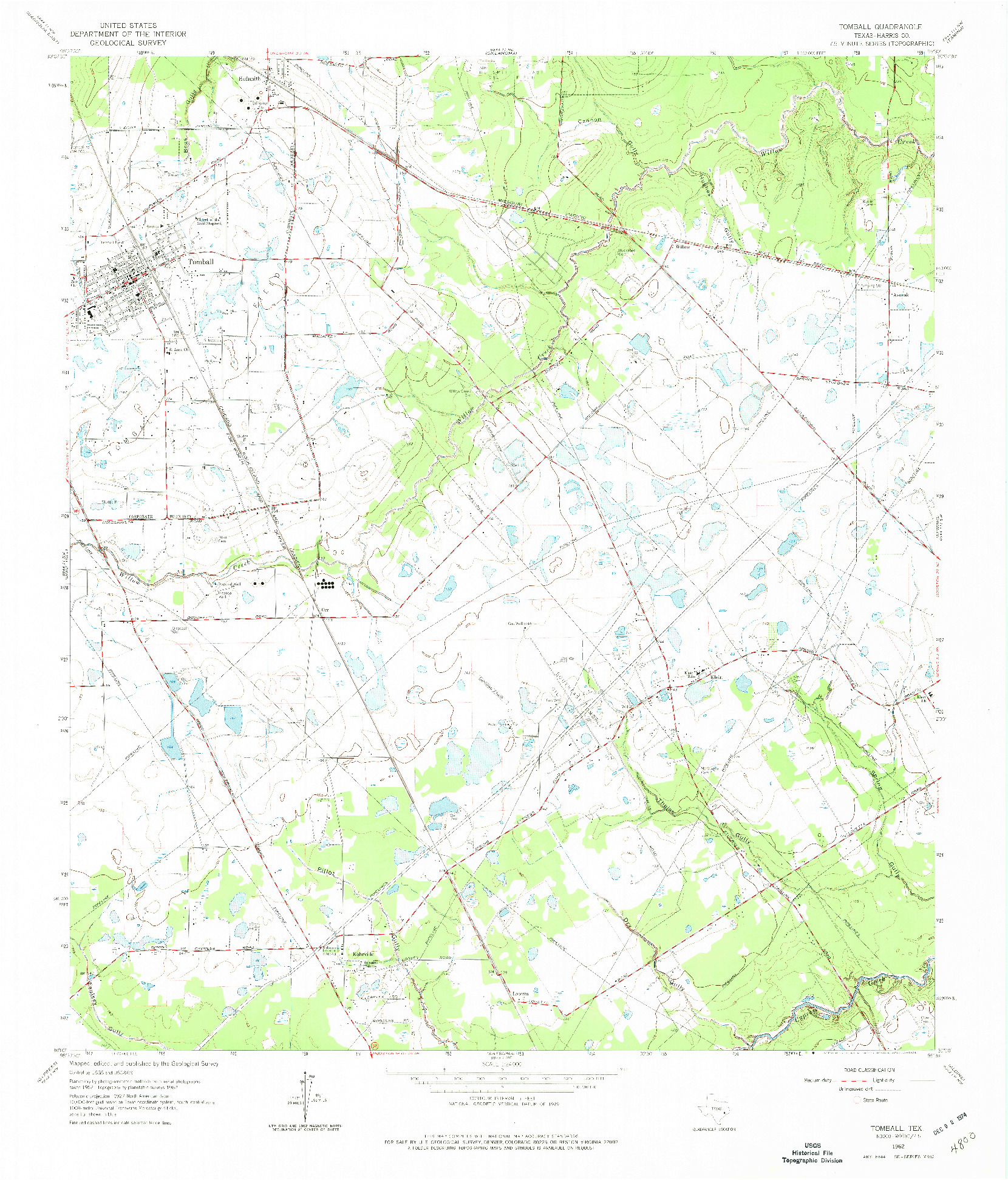 USGS 1:24000-SCALE QUADRANGLE FOR TOMBALL, TX 1962