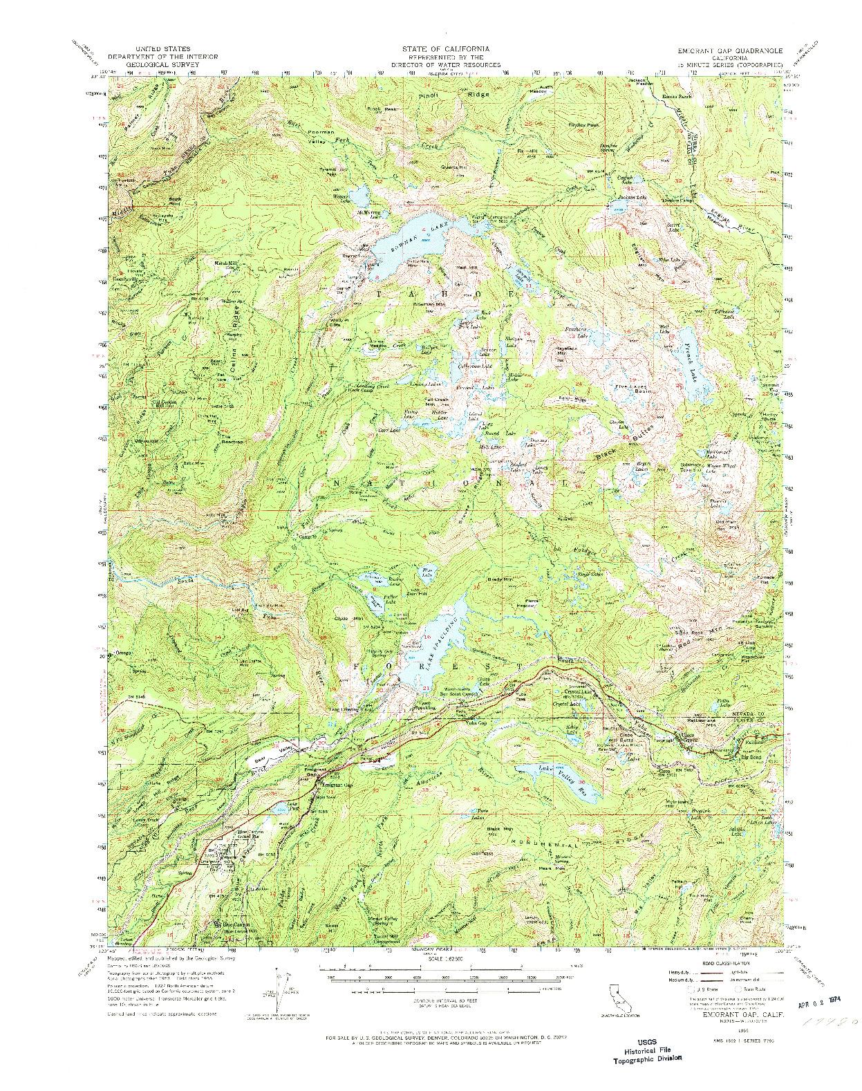 USGS 1:62500-SCALE QUADRANGLE FOR EMIGRANT GAP, CA 1955