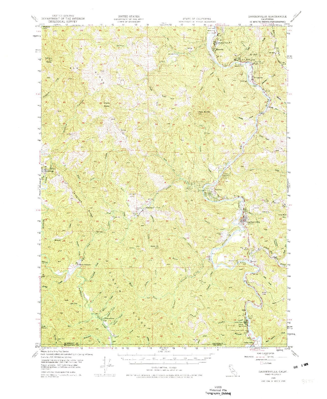 USGS 1:62500-SCALE QUADRANGLE FOR GARBERVILLE, CA 1949