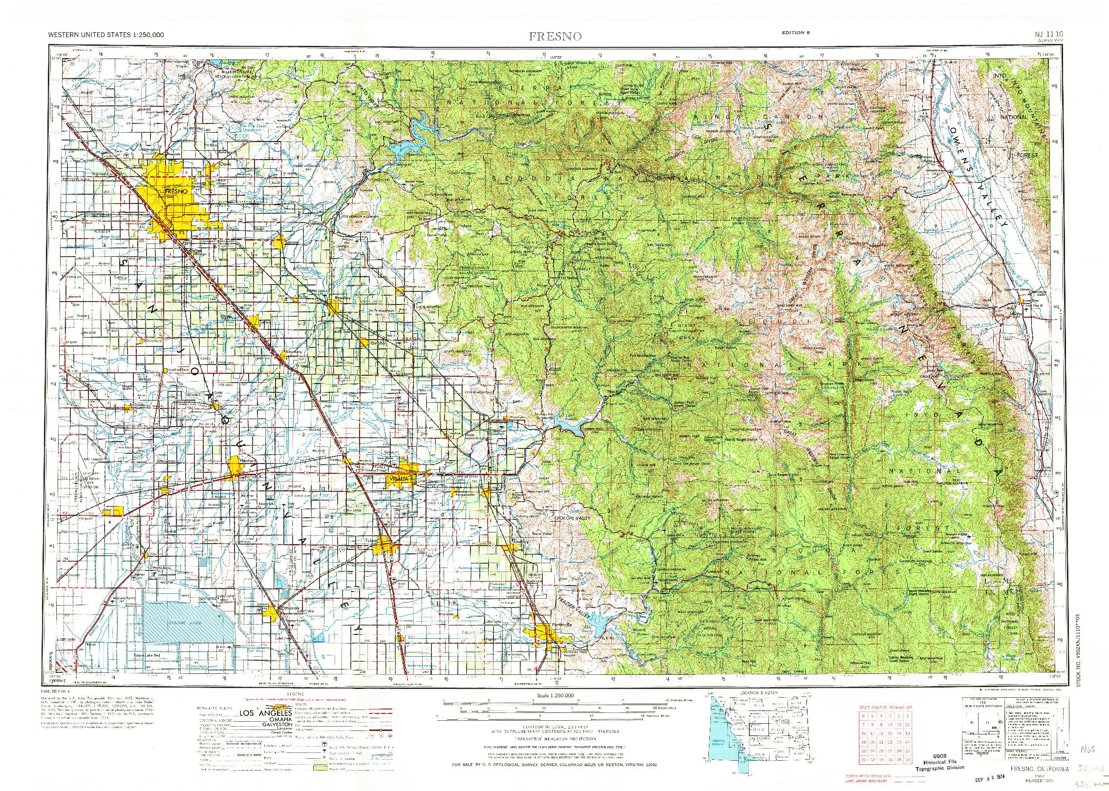 USGS 1:250000-SCALE QUADRANGLE FOR FRESNO, CA 1962