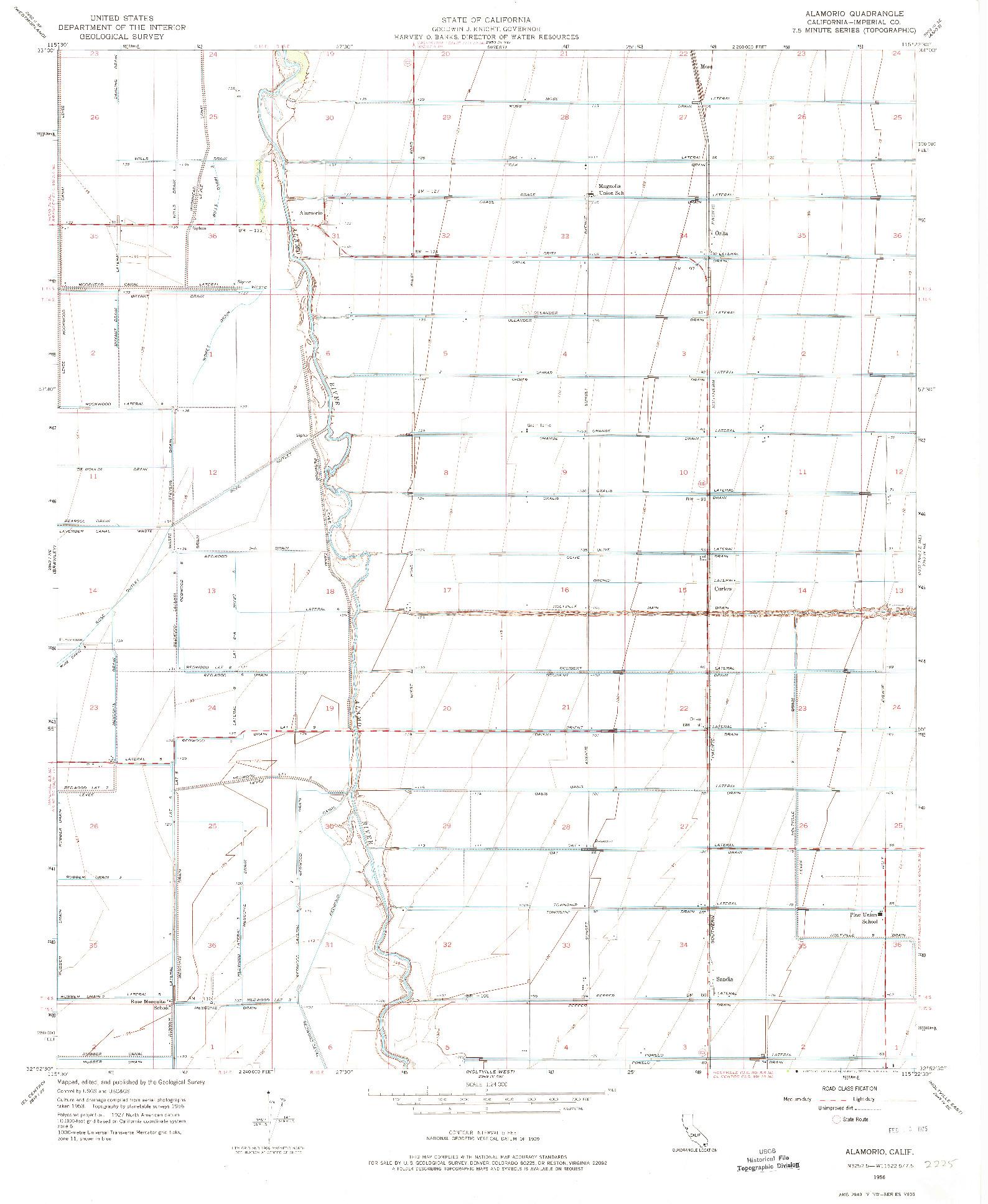 USGS 1:24000-SCALE QUADRANGLE FOR ALAMORIO, CA 1956