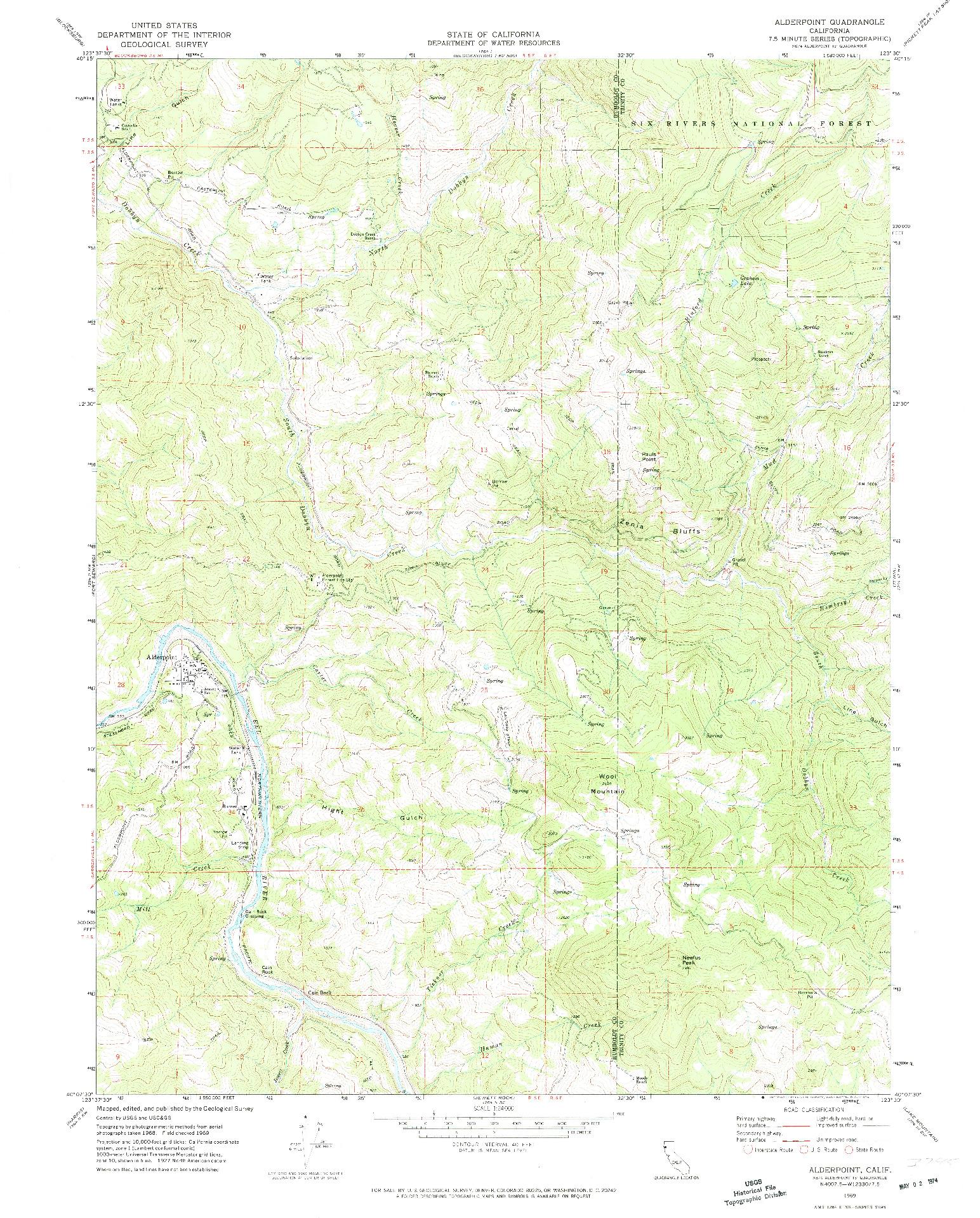 USGS 1:24000-SCALE QUADRANGLE FOR ALDERPOINT, CA 1969