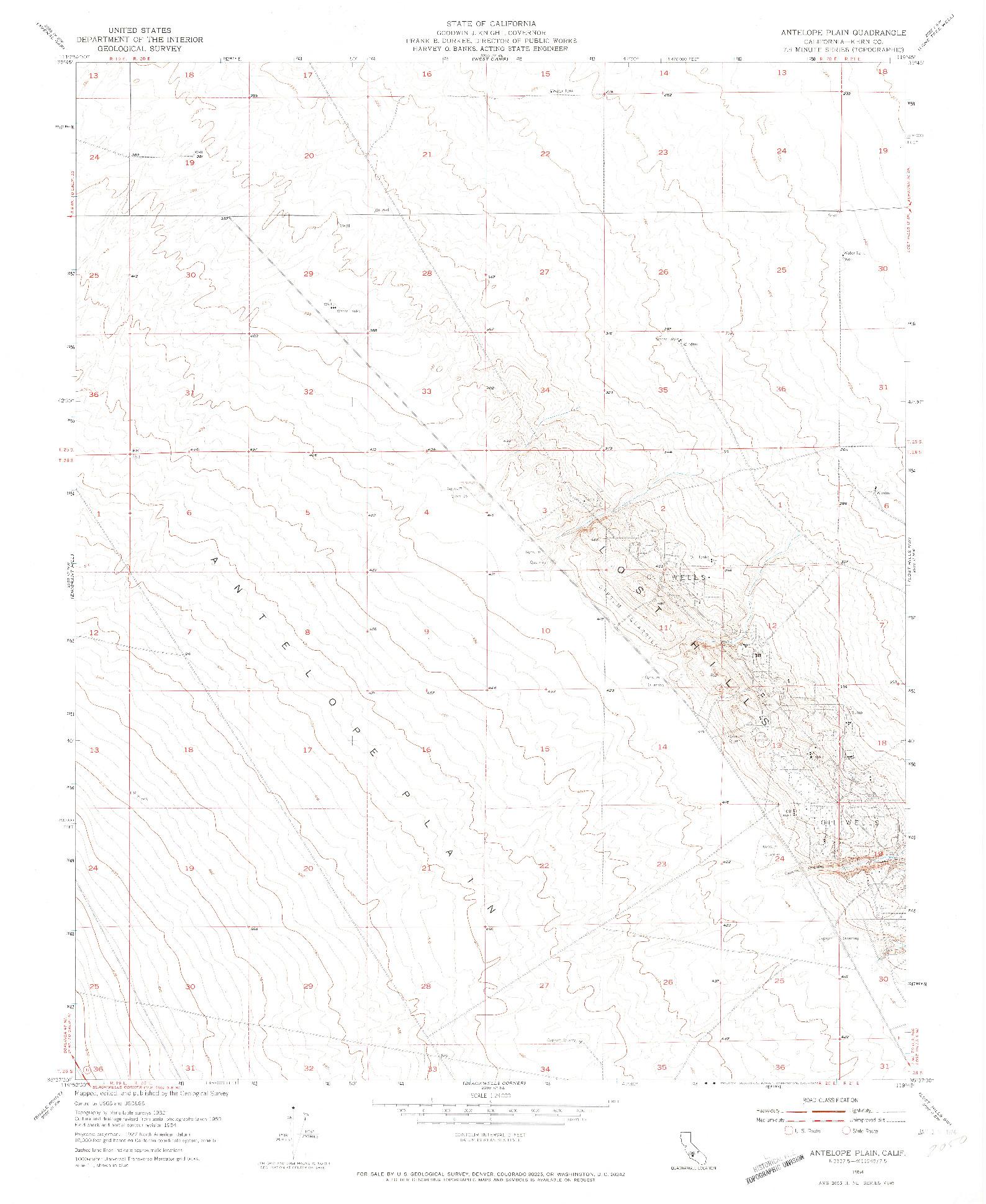 USGS 1:24000-SCALE QUADRANGLE FOR ANTELOPE PLAIN, CA 1954
