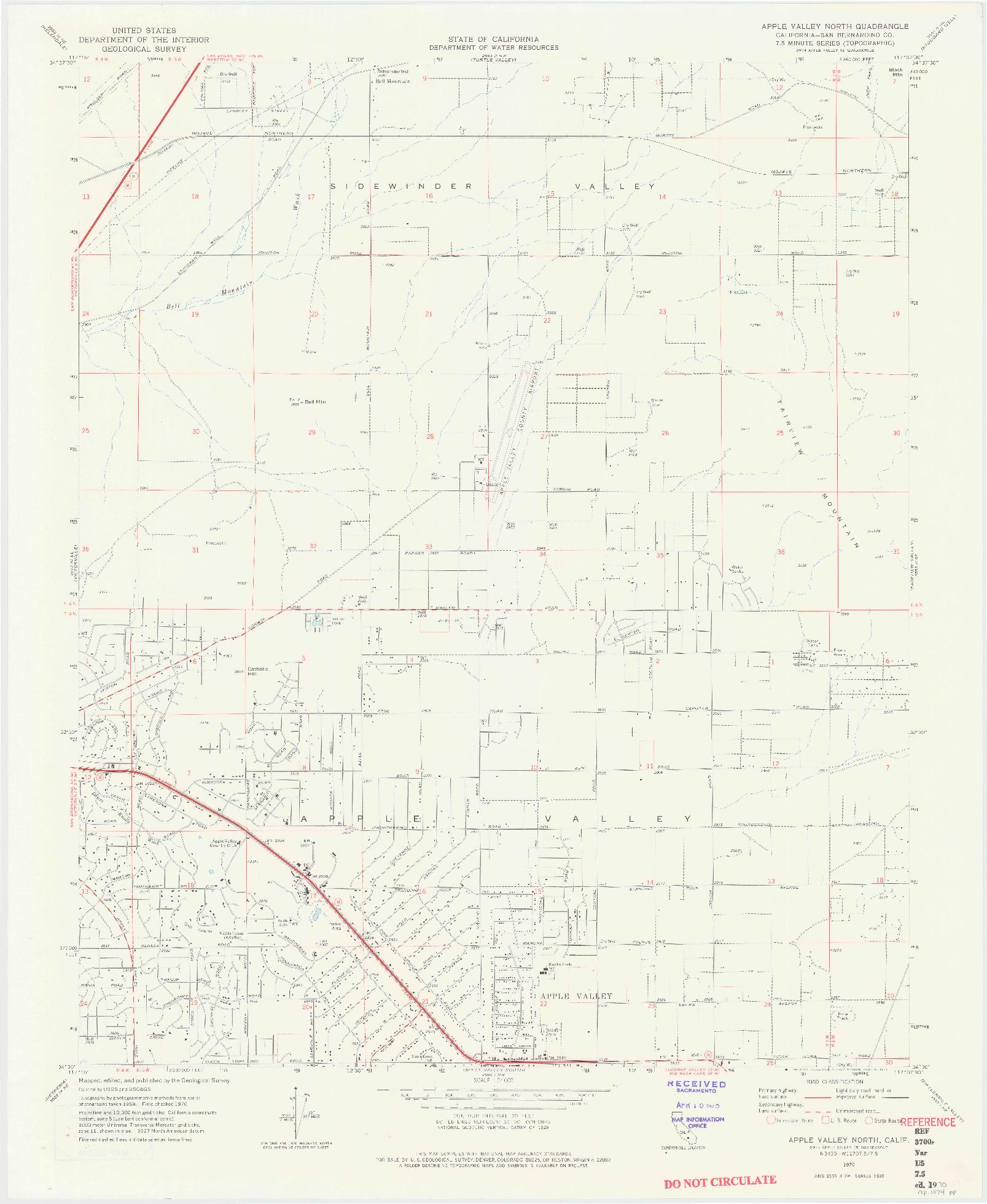 USGS 1:24000-SCALE QUADRANGLE FOR APPLE VALLEY NORTH, CA 1970
