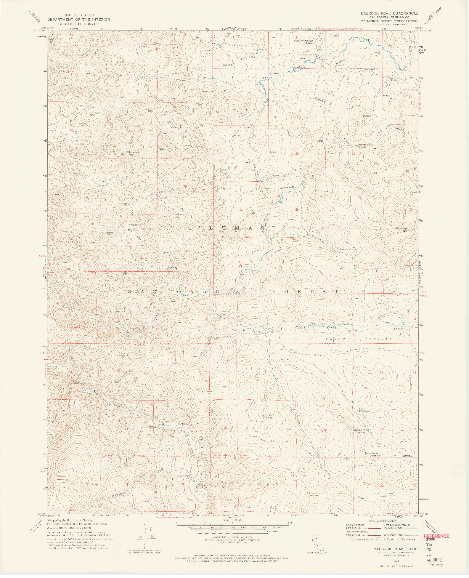 USGS 1:24000-SCALE QUADRANGLE FOR BABCOCK PEAK, CA 1972