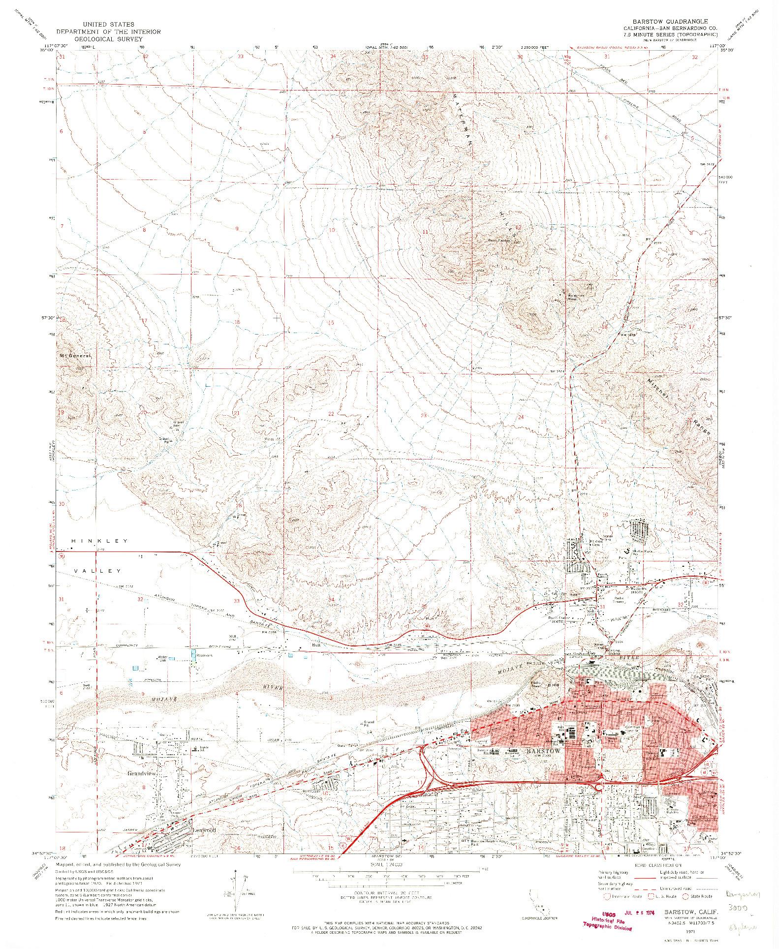 USGS 1:24000-SCALE QUADRANGLE FOR BARSTOW, CA 1971