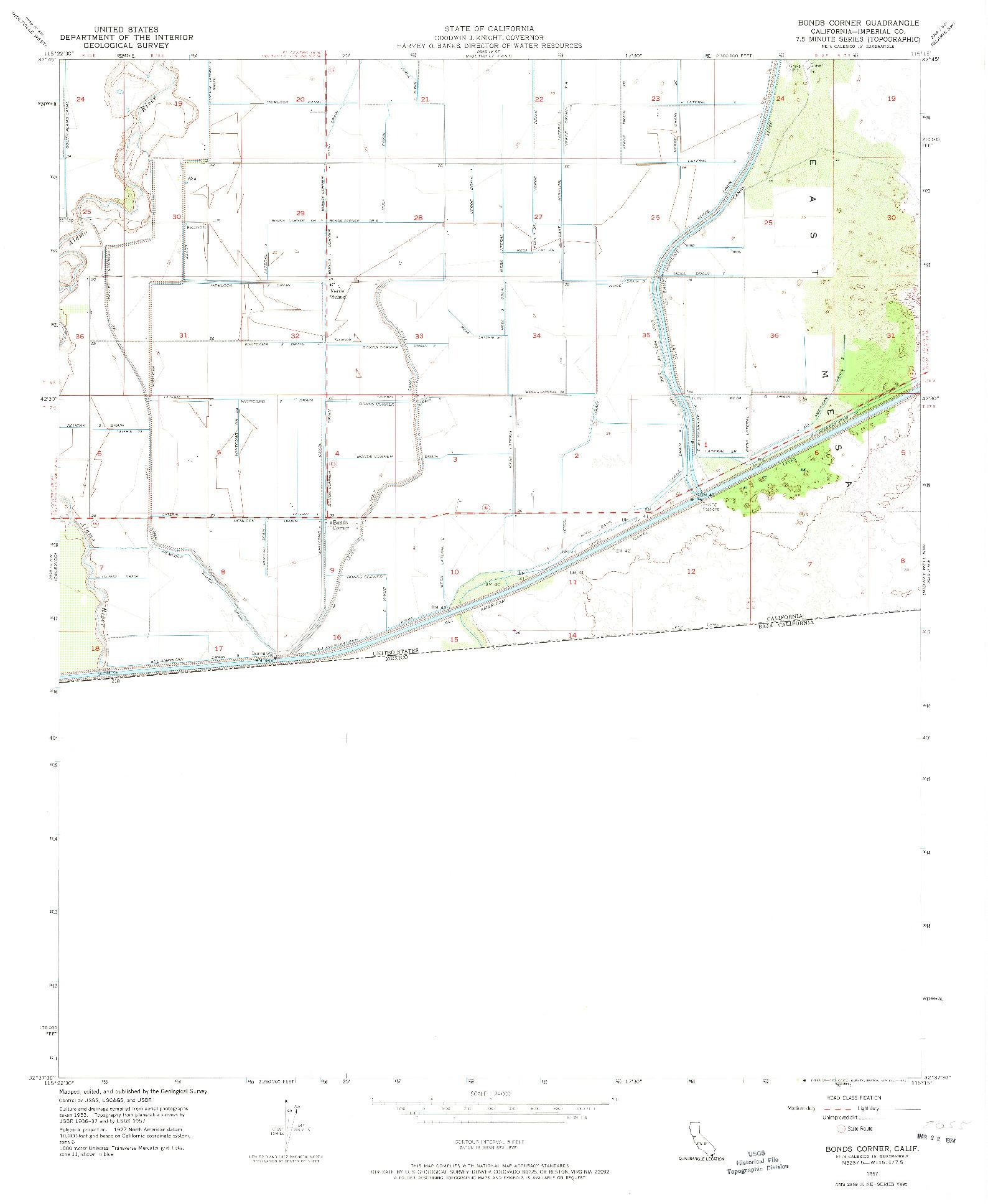 USGS 1:24000-SCALE QUADRANGLE FOR BONDS CORNER, CA 1957