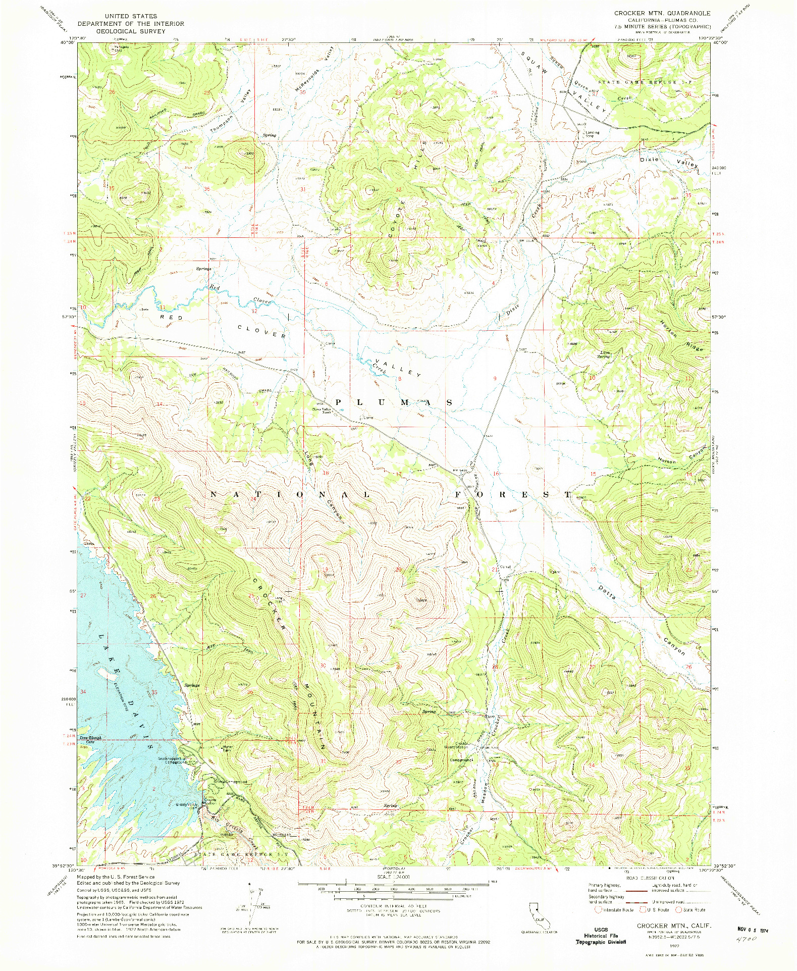 USGS 1:24000-SCALE QUADRANGLE FOR CROCKER MTN, CA 1972