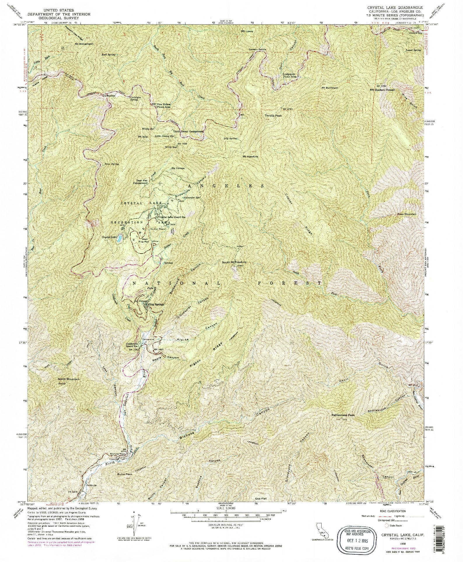 USGS 1:24000-SCALE QUADRANGLE FOR CRYSTAL LAKE, CA 1958