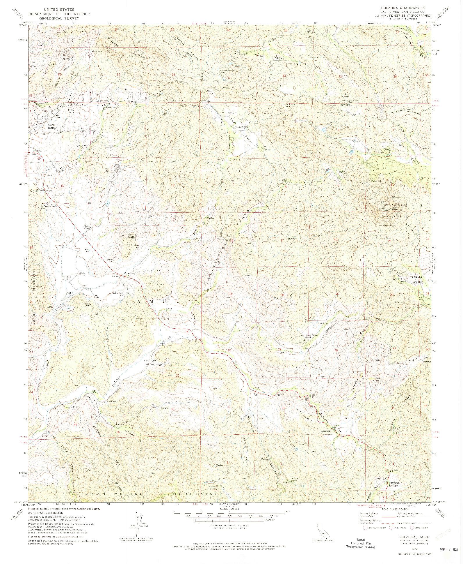 USGS 1:24000-SCALE QUADRANGLE FOR DULZURA, CA 1972