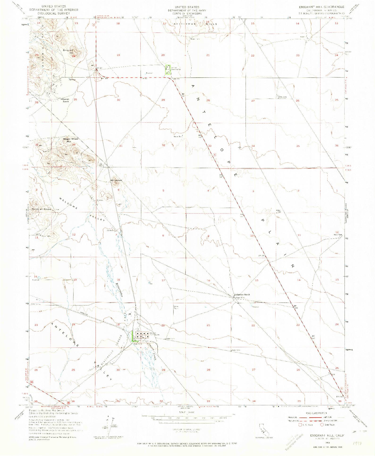 USGS 1:24000-SCALE QUADRANGLE FOR EMIGRANT HILL, CA 1953