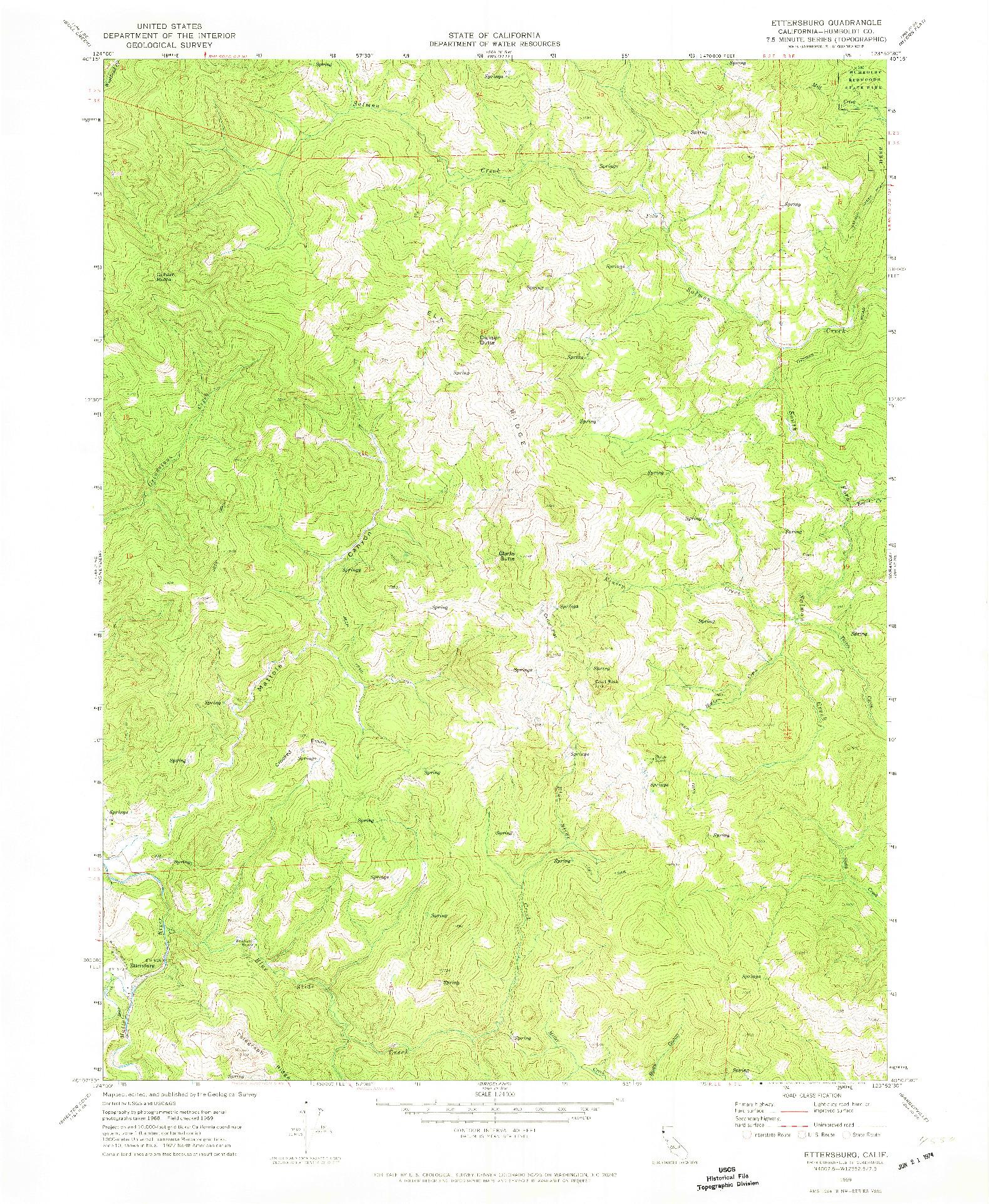 USGS 1:24000-SCALE QUADRANGLE FOR ETTERSBURG, CA 1969