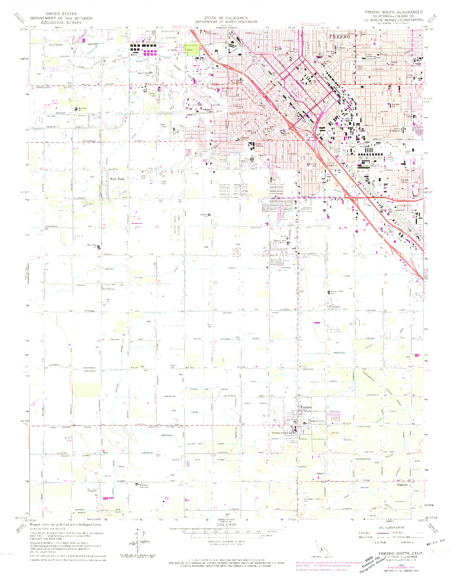 USGS 1:24000-SCALE QUADRANGLE FOR FRESNO SOUTH, CA 1963