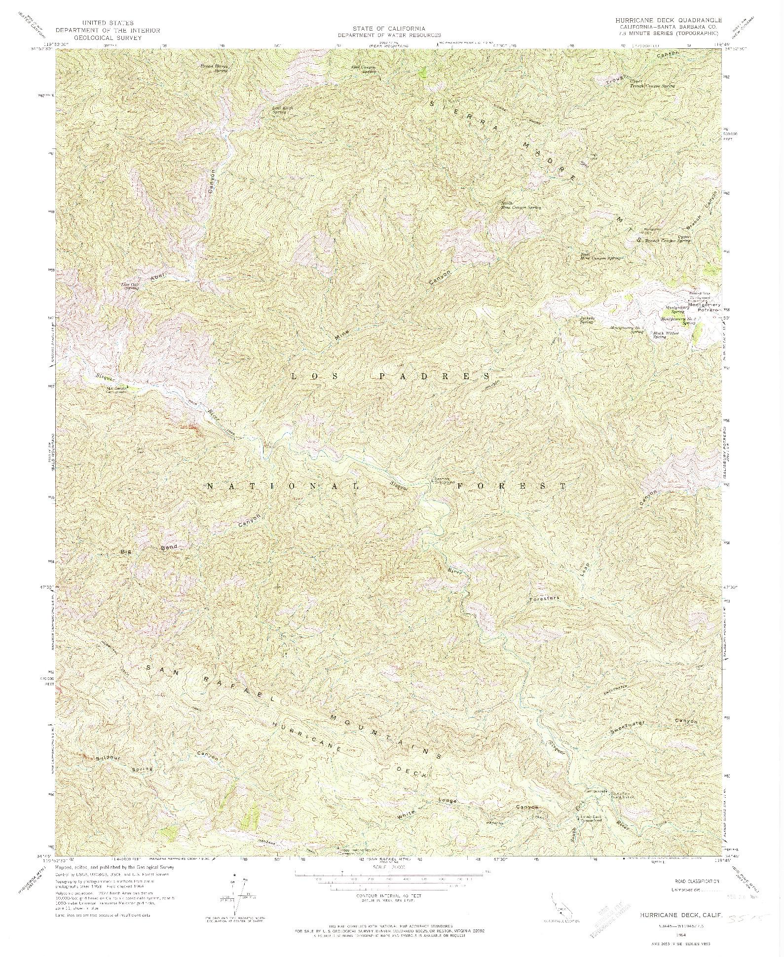 USGS 1:24000-SCALE QUADRANGLE FOR HURRICANE DECK, CA 1964