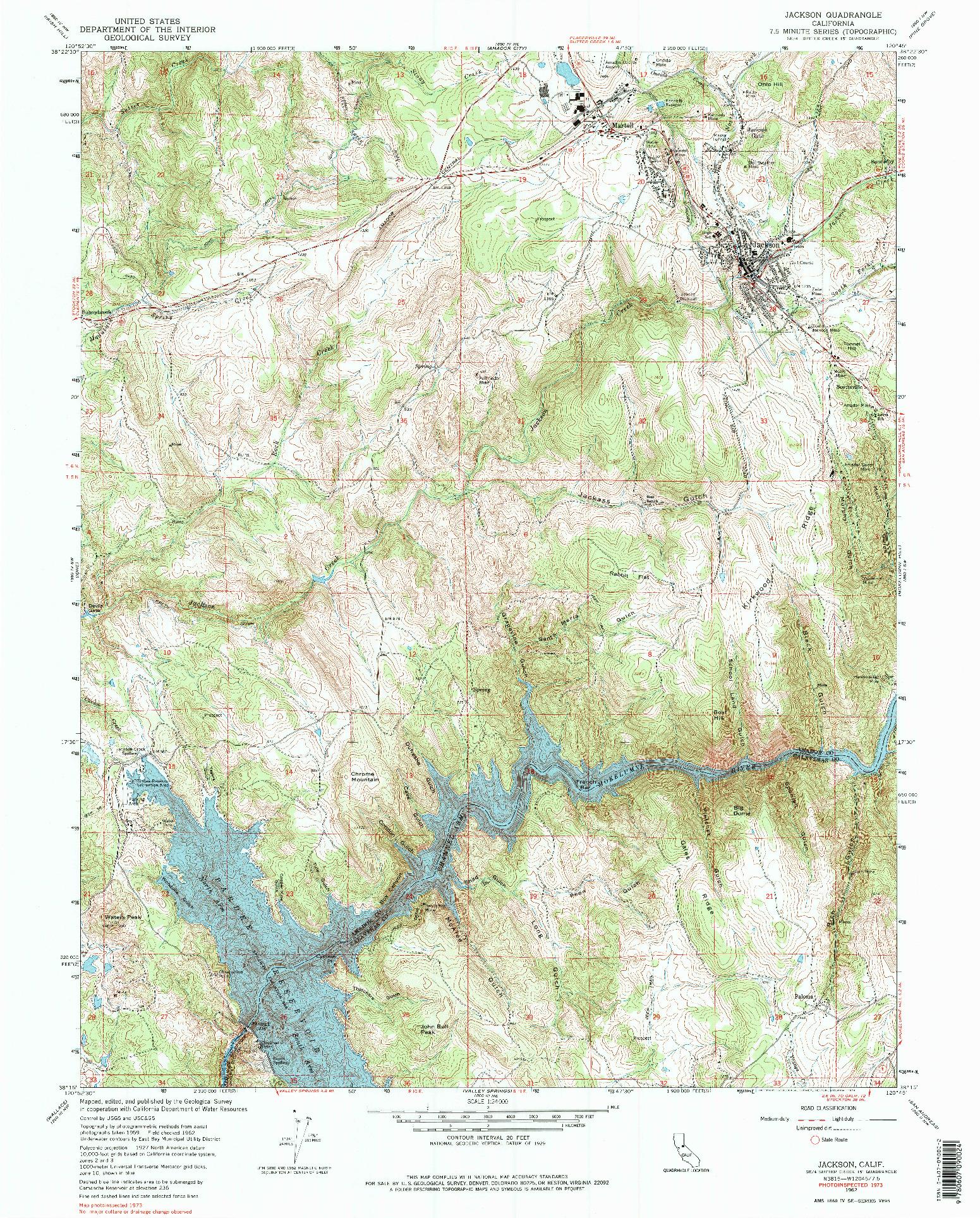 USGS 1:24000-SCALE QUADRANGLE FOR JACKSON, CA 1962