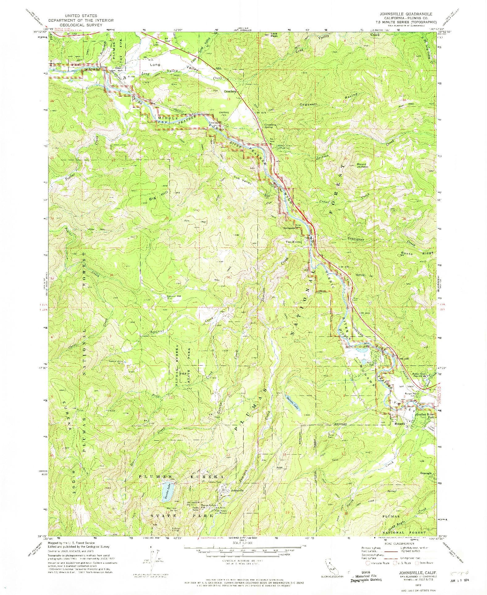 USGS 1:24000-SCALE QUADRANGLE FOR JOHNSVILLE, CA 1972