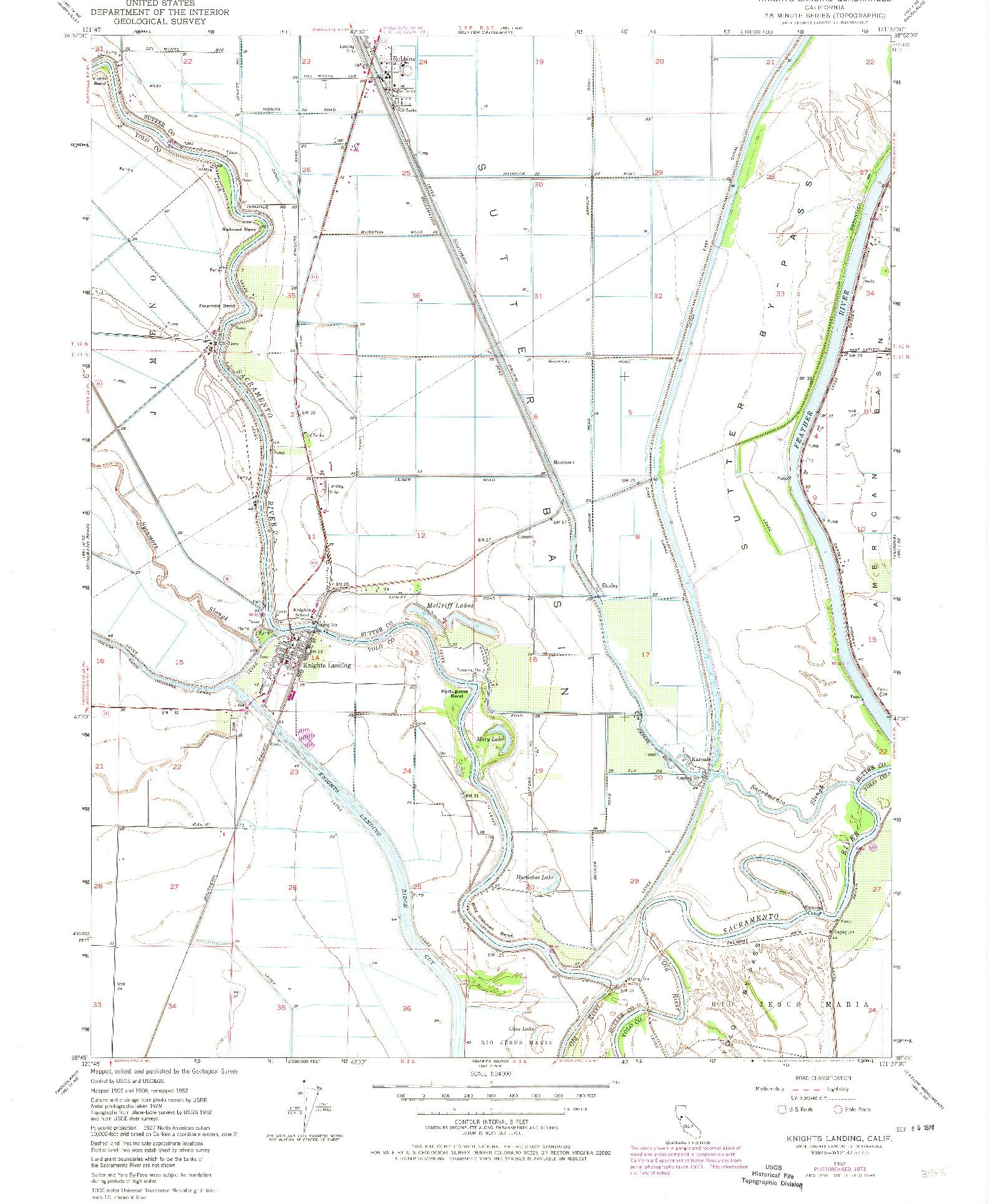 USGS 1:24000-SCALE QUADRANGLE FOR KNIGHTS LANDING, CA 1952