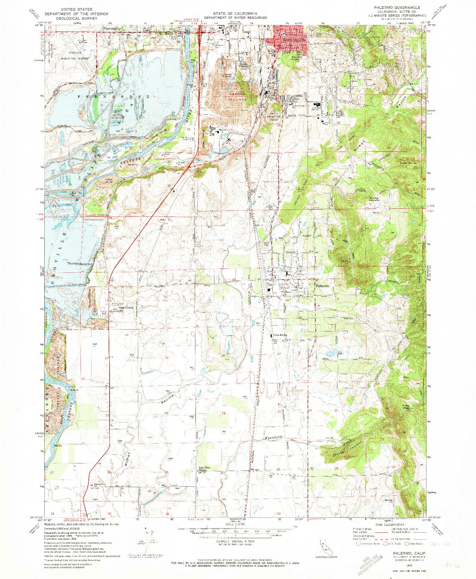 USGS 1:24000-SCALE QUADRANGLE FOR PALERMO, CA 1970