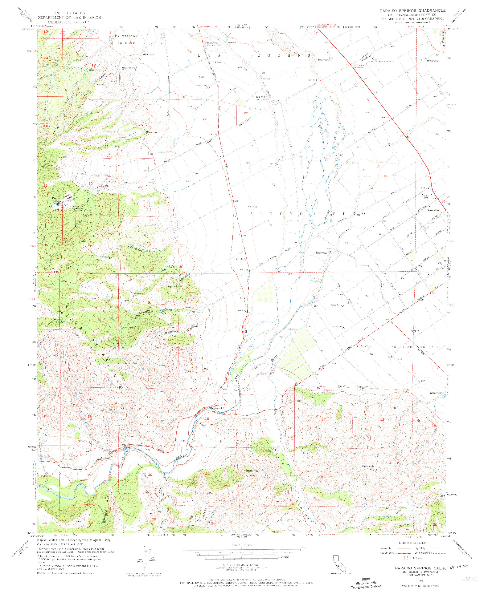 USGS 1:24000-SCALE QUADRANGLE FOR PARAISO SPRINGS, CA 1956